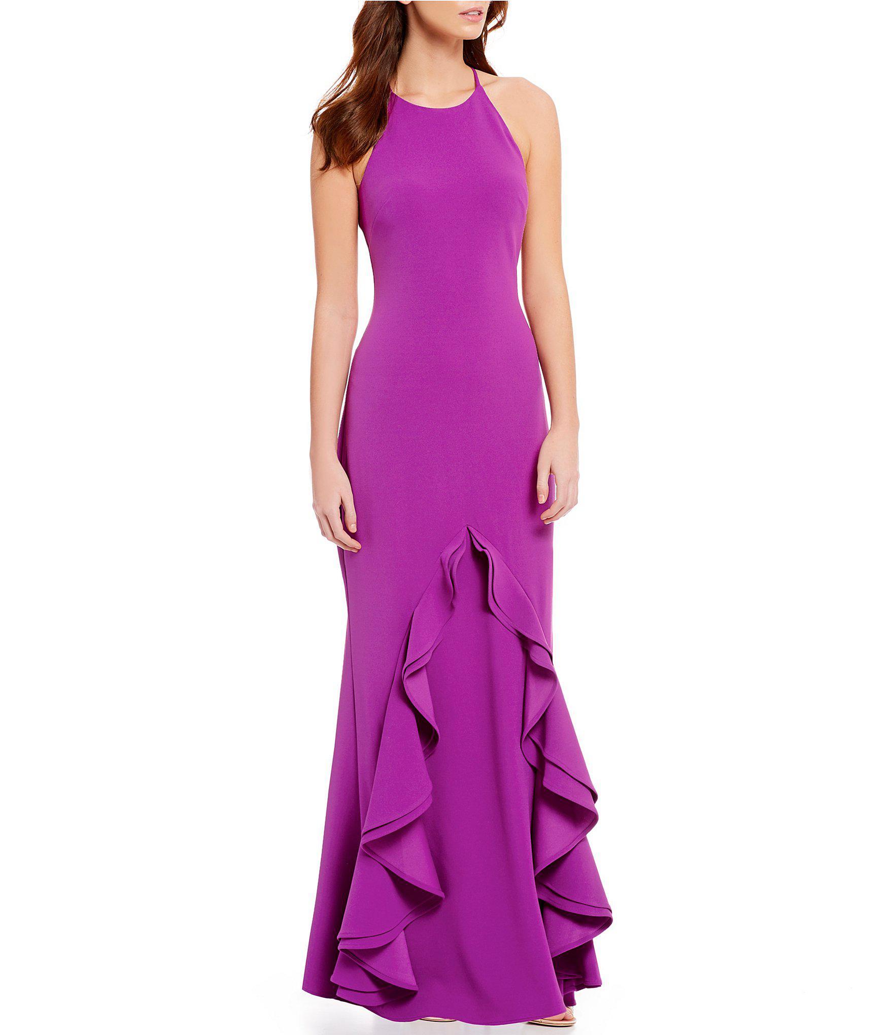 a9c64a31b2b Belle By Badgley Mischka Crew Neck Ruffle Gown in Purple - Lyst