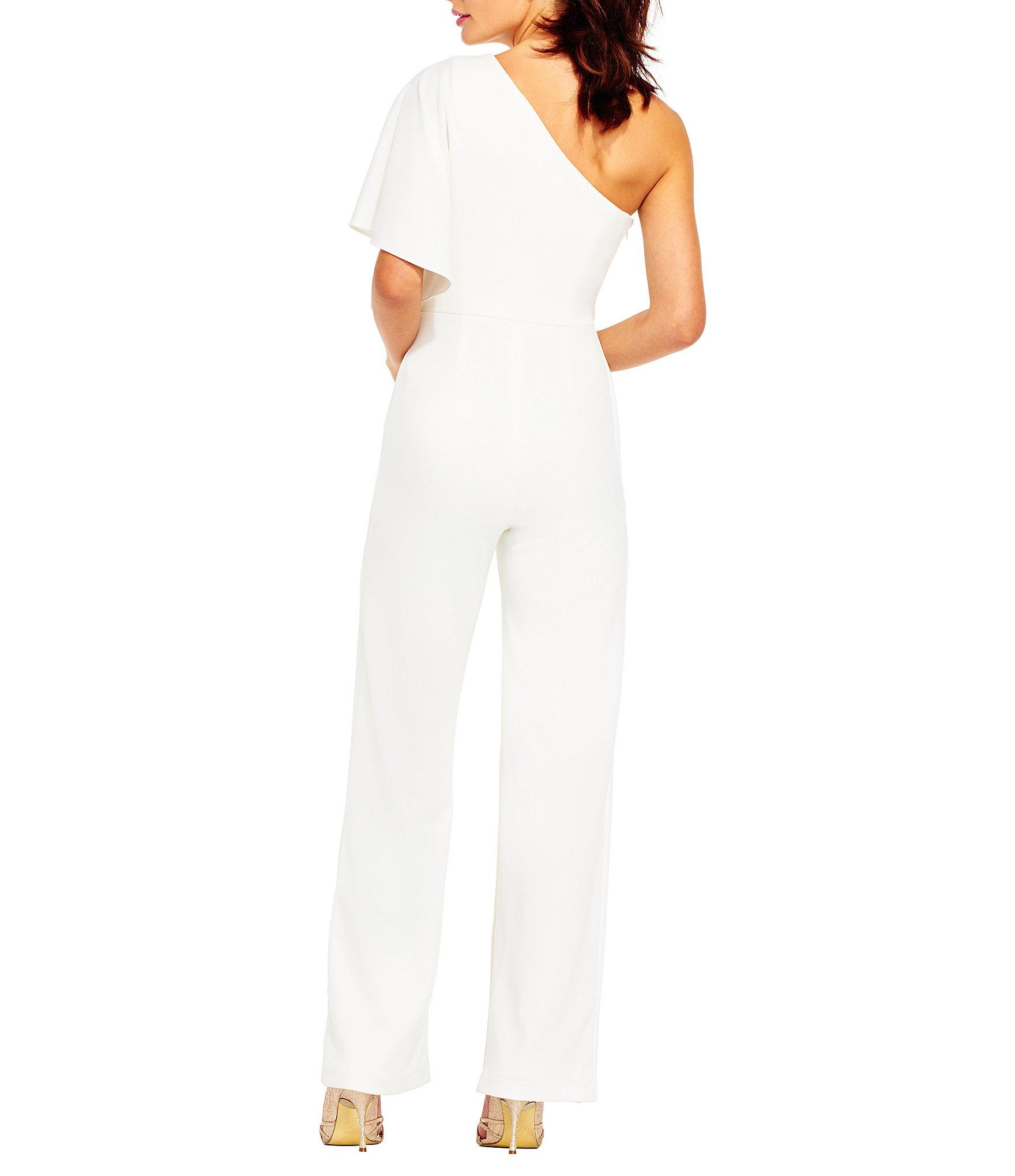 Lyst Adrianna Papell Crepe One Shoulder Jumpsuit In White
