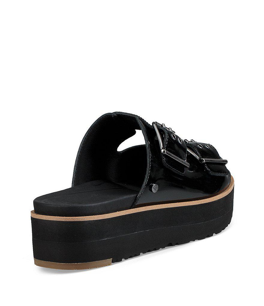 95e9c0a7dfc Lyst - UGG Cammie Patent Leather Buckle Slides in Black