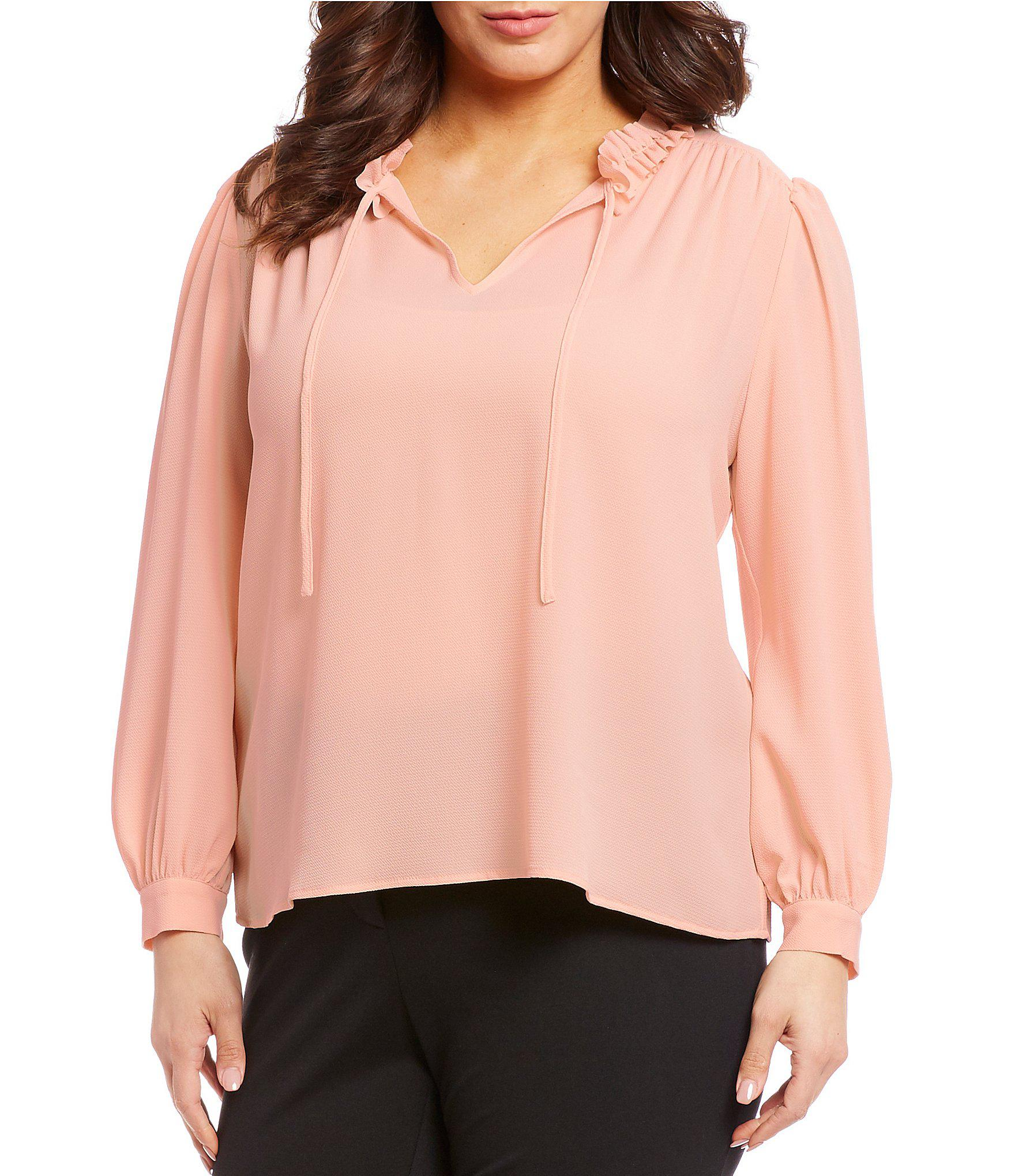 d87e3402ebb69 Lyst - Cece Plus Size Long Sleeve Tie-neck Blouse in Pink