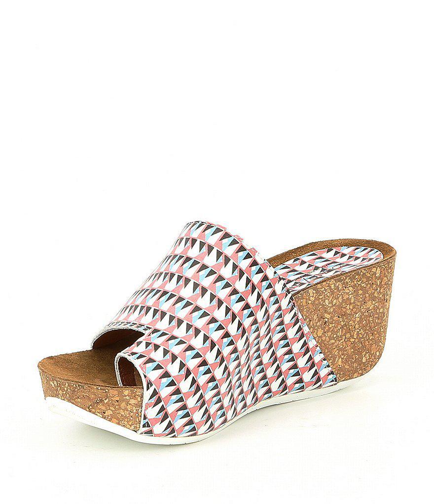 Ginie Geo Print Leather Wedge Sandals YVbp0htKUc