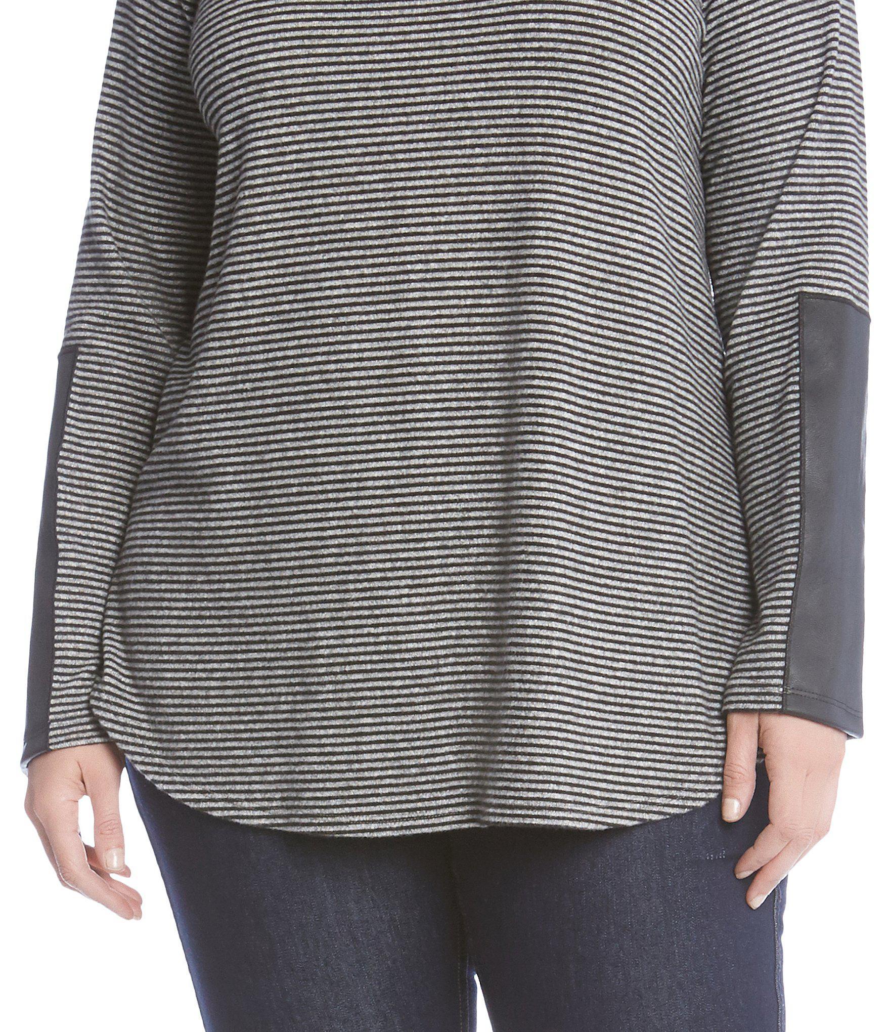 ceff5814f7d Karen Kane - Multicolor Plus Size Faux Leather Sleeve Detail Tee - Lyst.  View fullscreen