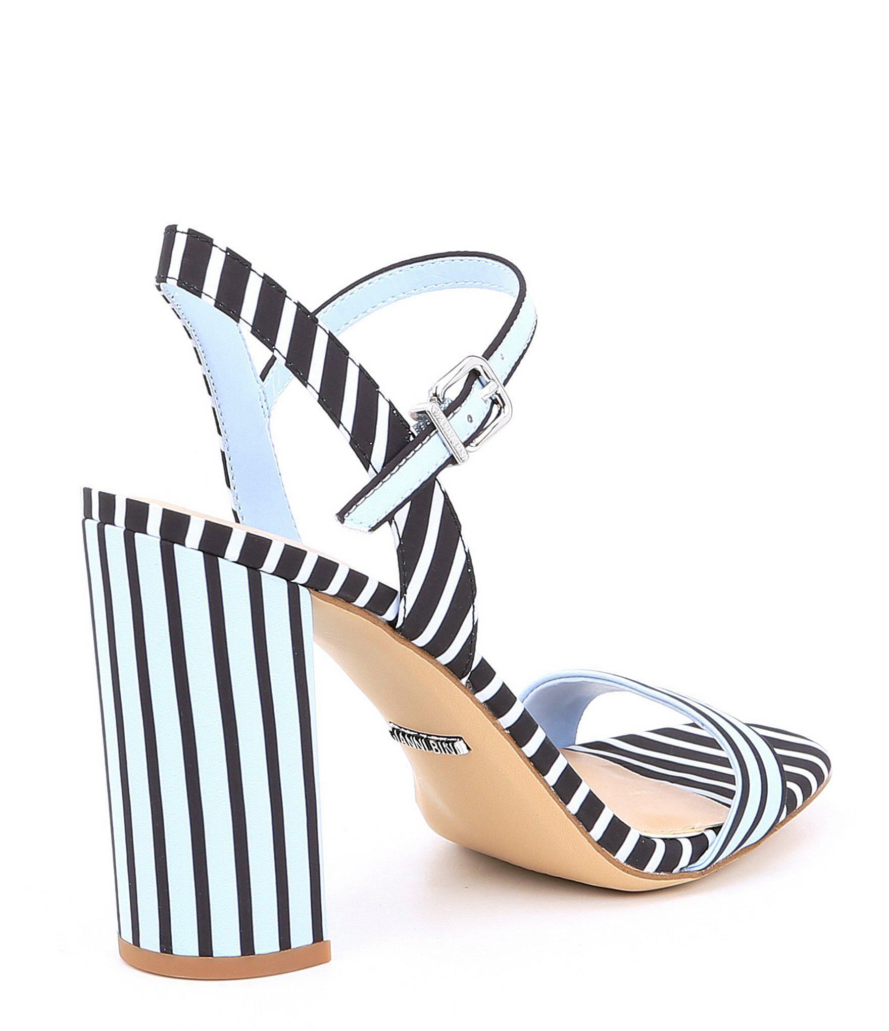 8337e94832a Gianni Bini - Blue Mckaria Stripe Block Heel Sandals - Lyst. View fullscreen