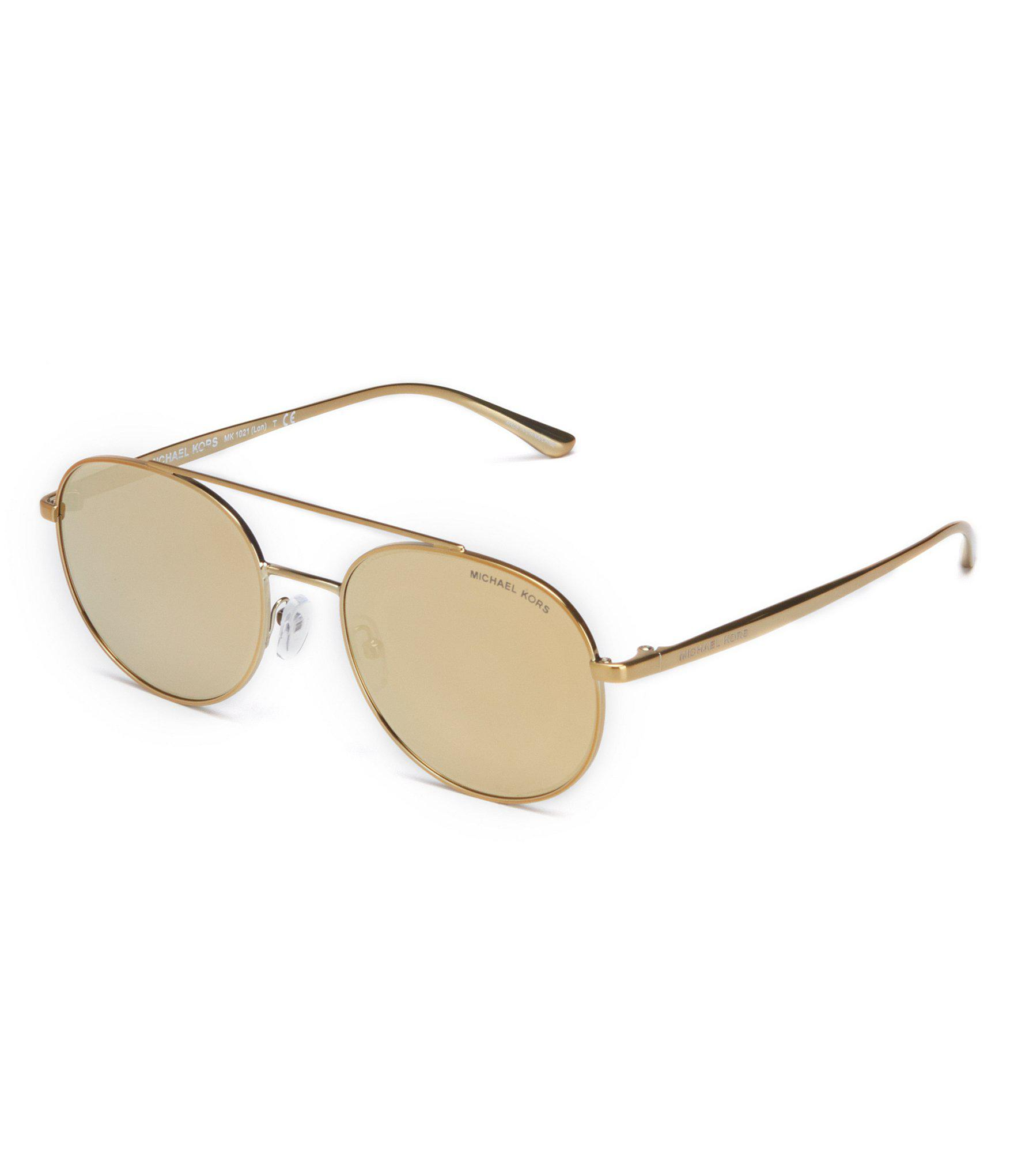 6de5ad9c179 Lyst - Michael Kors Mirrored Aviator Sunglasses in Metallic