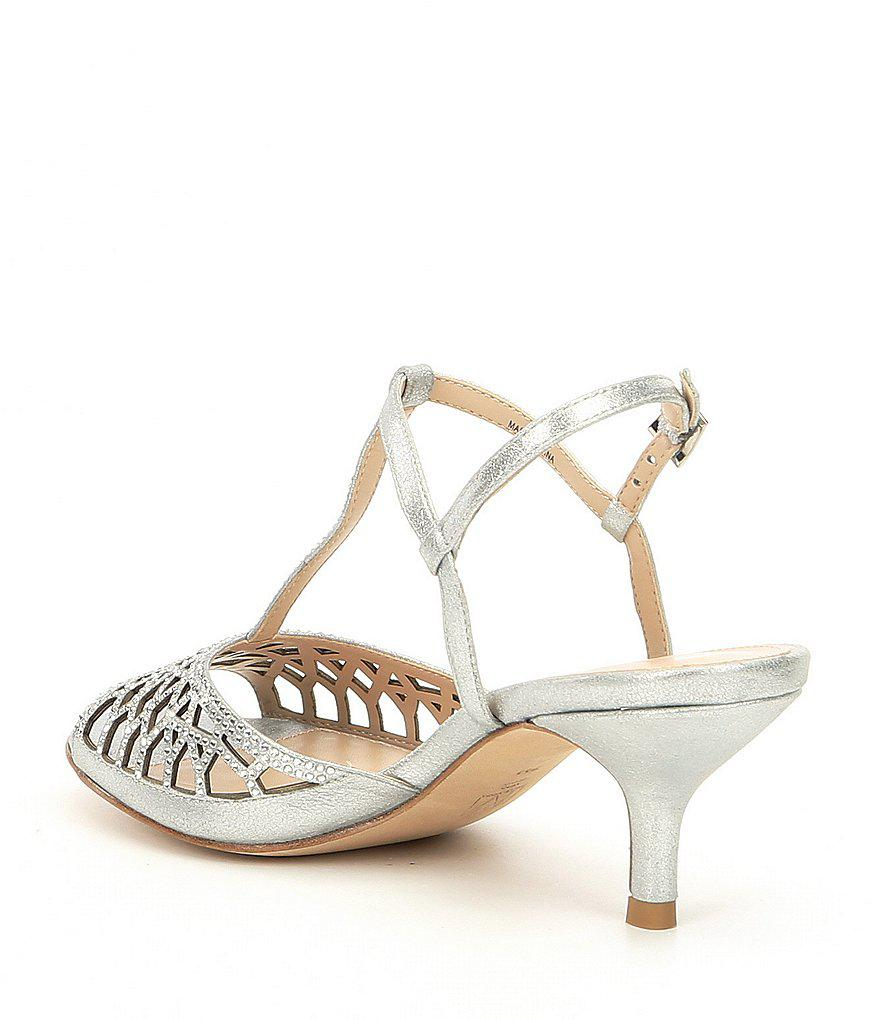 Adaline T-strap Metallic Suede Rhinestone Dress Sandals
