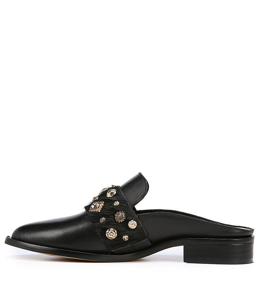 Sam Edelman Laird Jeweled Fur Banded Leather Mules MSxShh