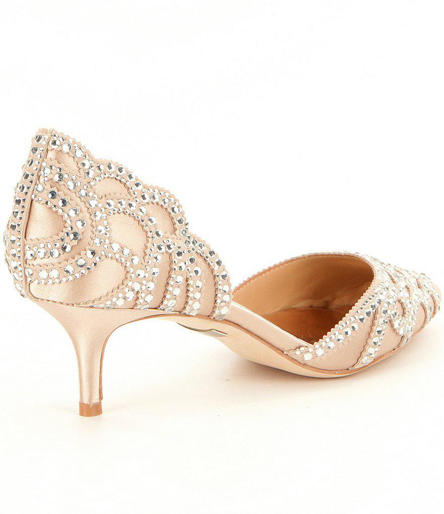 Ginny Satin And Suede Jeweled d'Orsay Pumps PufjNS5