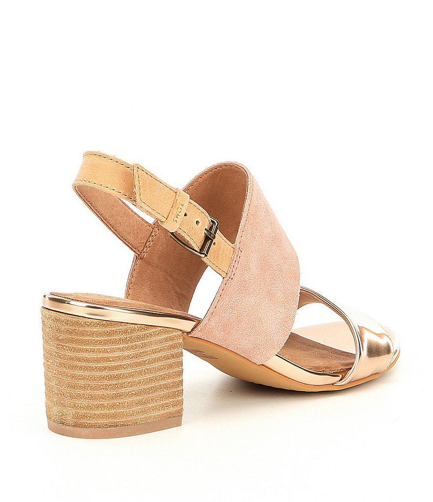 Poppy Suede and Metallic Block Heel Sandals PKfgy