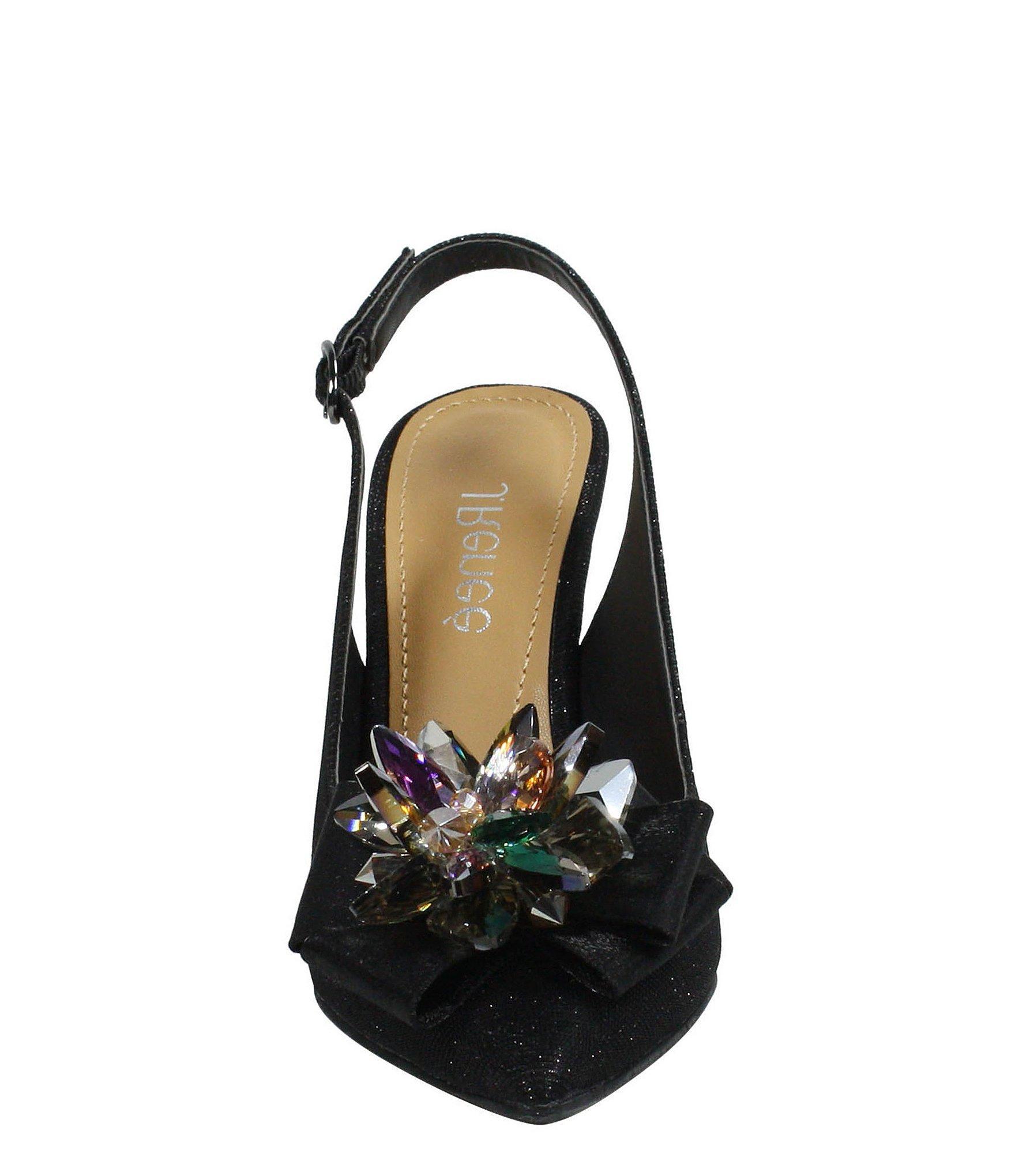 282cc6904e1 J. Reneé - Black Denyell Glitter Flower Ornament Sling Pumps - Lyst. View  fullscreen