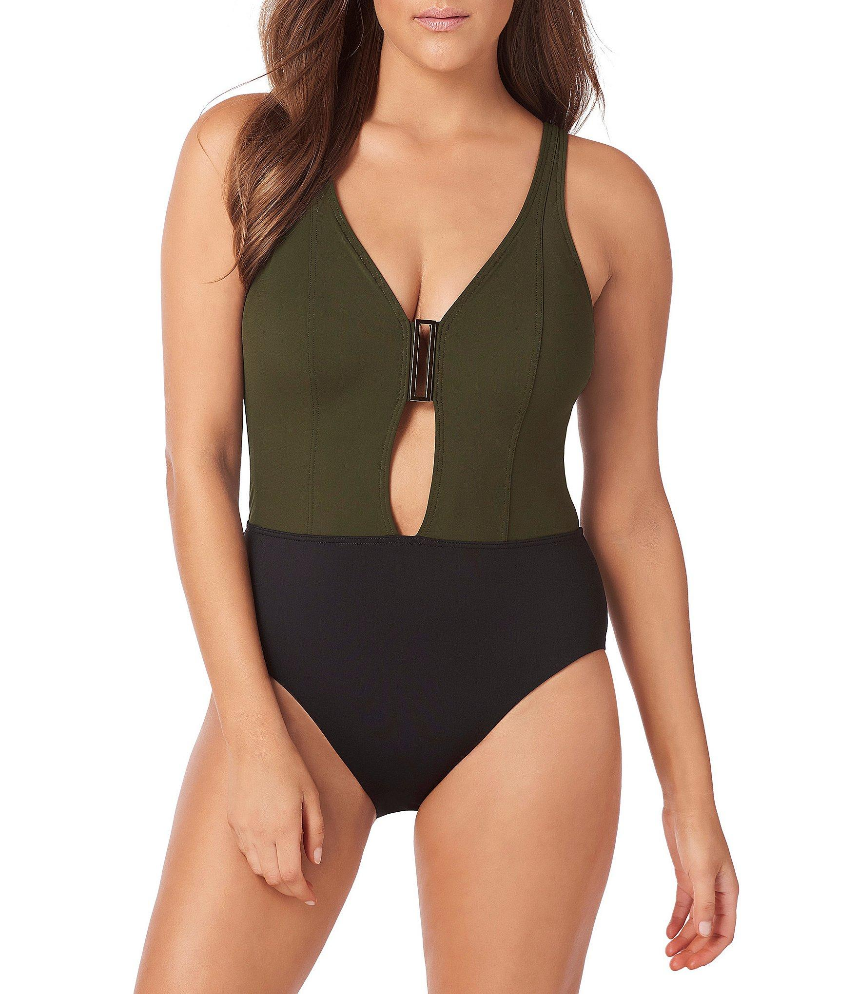 Miraclesuit. Women s Green Amoressa By Eclipse Ursa Plunge One Piece  Shaping Swimsuit 37cc14c0e