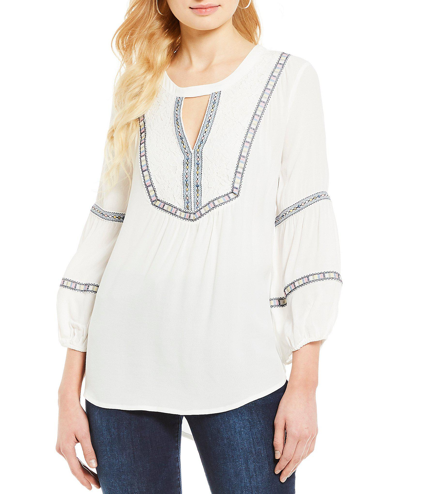 deb88c43c4a Lyst - Democracy Balloon Sleeve Embroidered Keyhole Neck Hi-low Top ...
