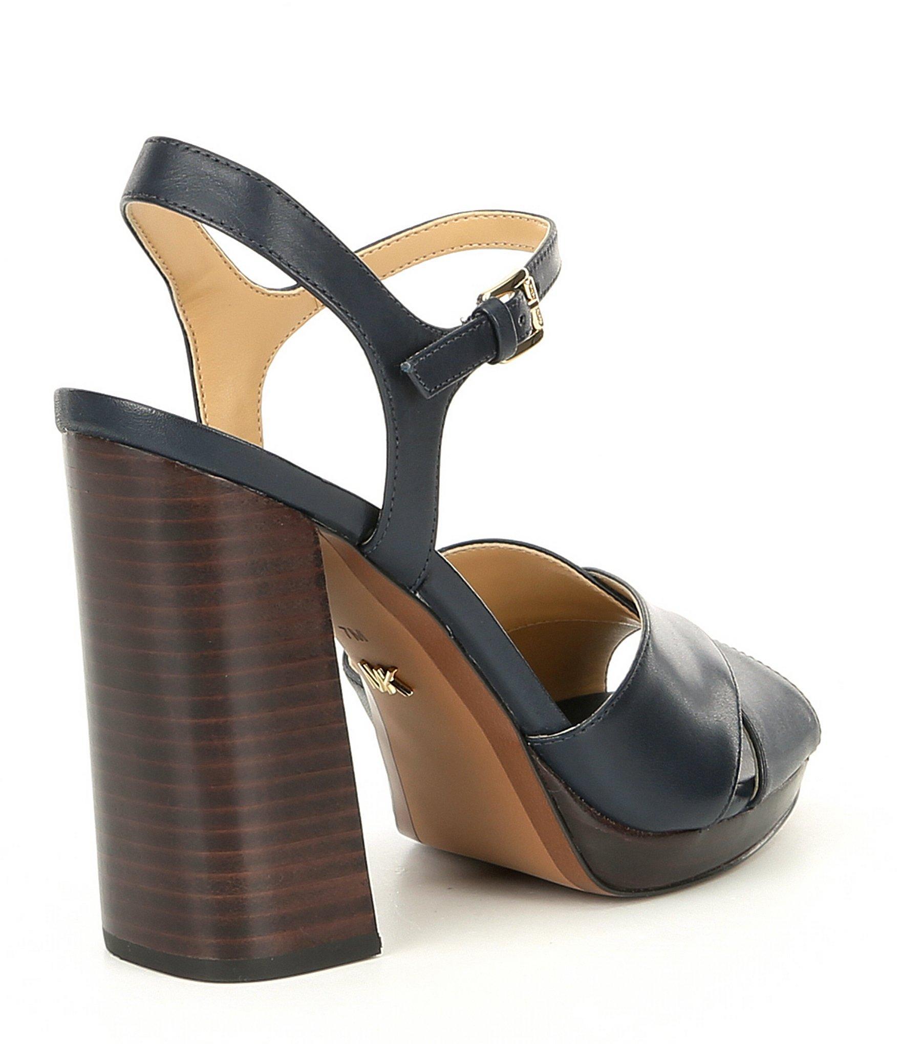 38587f12b81 MICHAEL Michael Kors - Blue Alexia Platform Block Heel Sandals - Lyst. View  fullscreen
