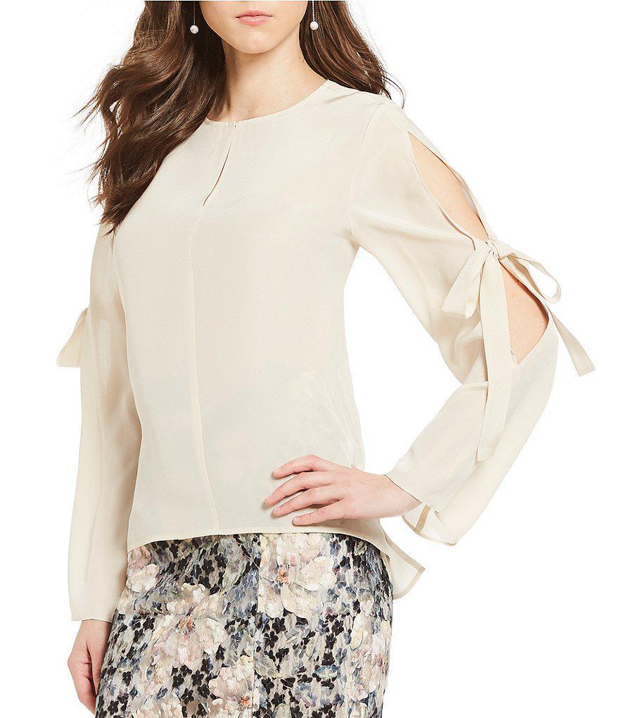 ae33208b2b2 Lyst - Antonio melani Robin Slit Tie Sleeve Silk Blouse in White