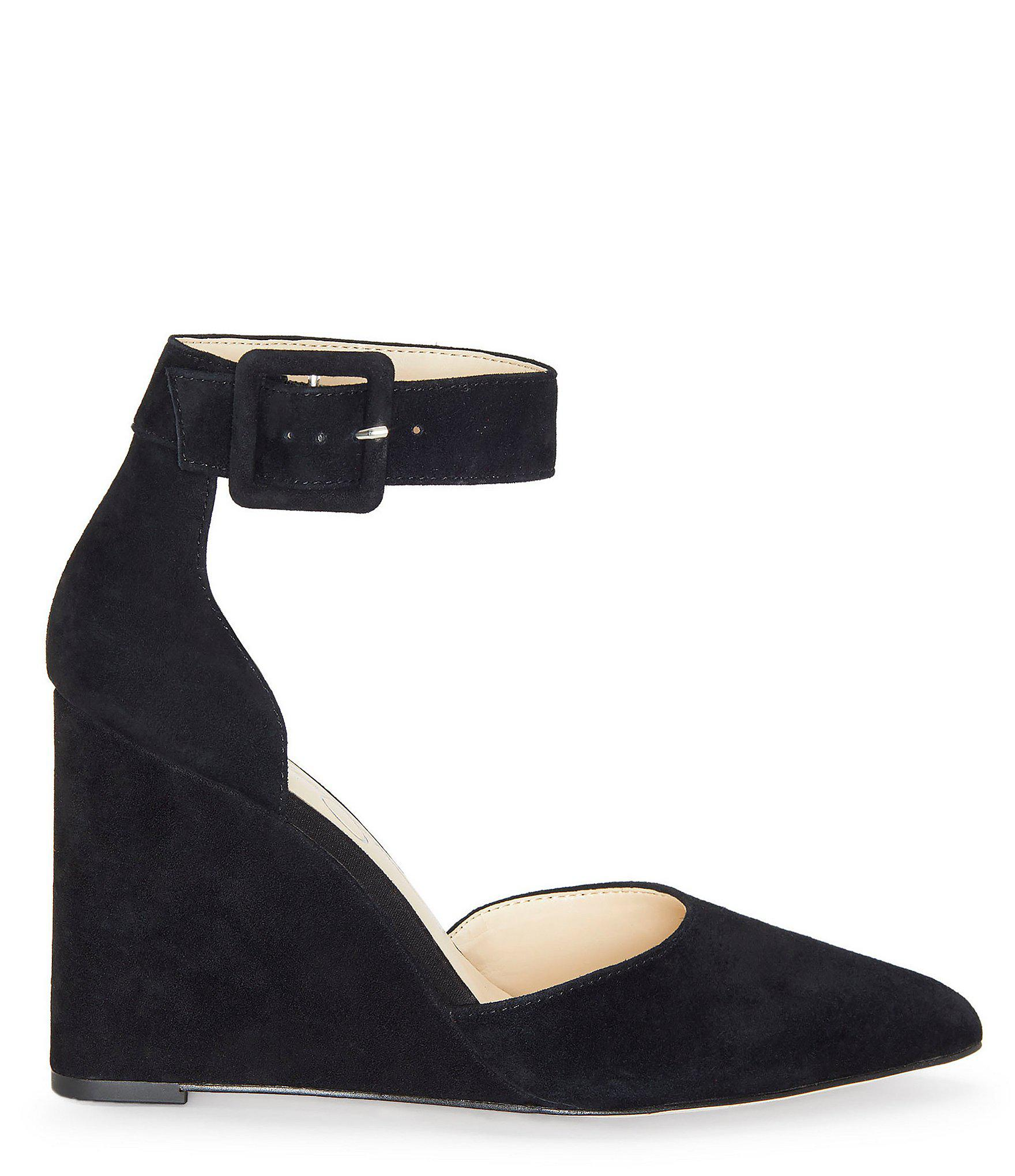 1b881bbeafd7 Jessica Simpson - Black Moyra Suede Ankle-strap Wedges - Lyst. View  fullscreen