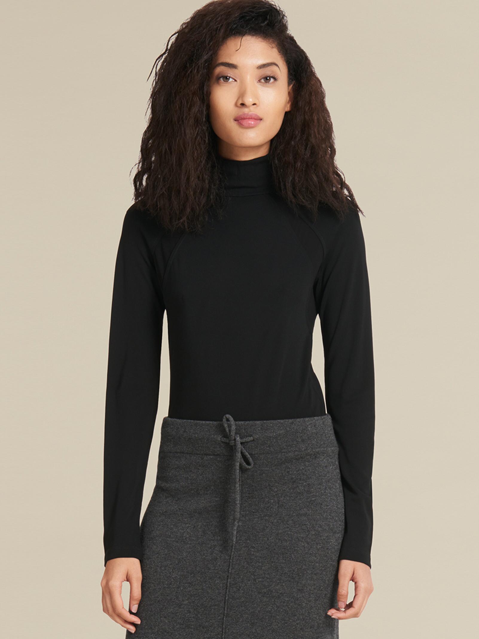 72c17f4e449 Lyst - DKNY Matte Jersey Turtleneck Bodysuit in Black