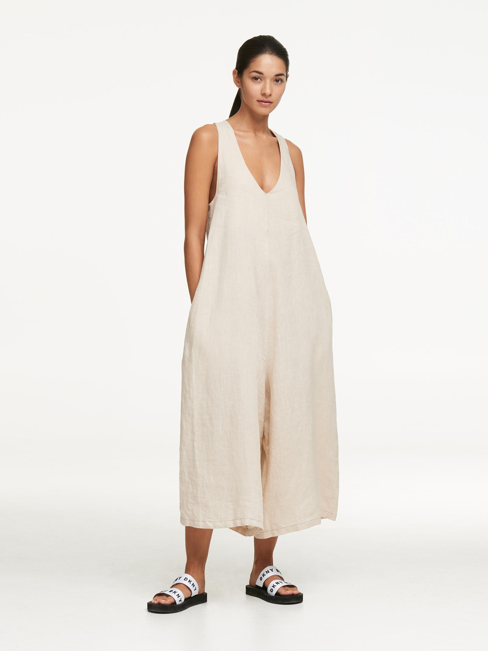 3904b45a59fc Lyst - DKNY Linen Tie Back Oversized Jumpsuit in Natural