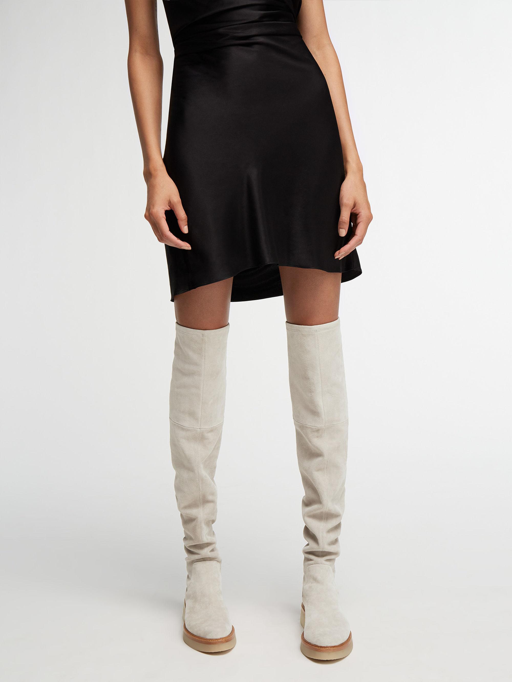 b4a2f30802d DKNY Kyra Stretch Suede Thigh High Boot in Black - Lyst