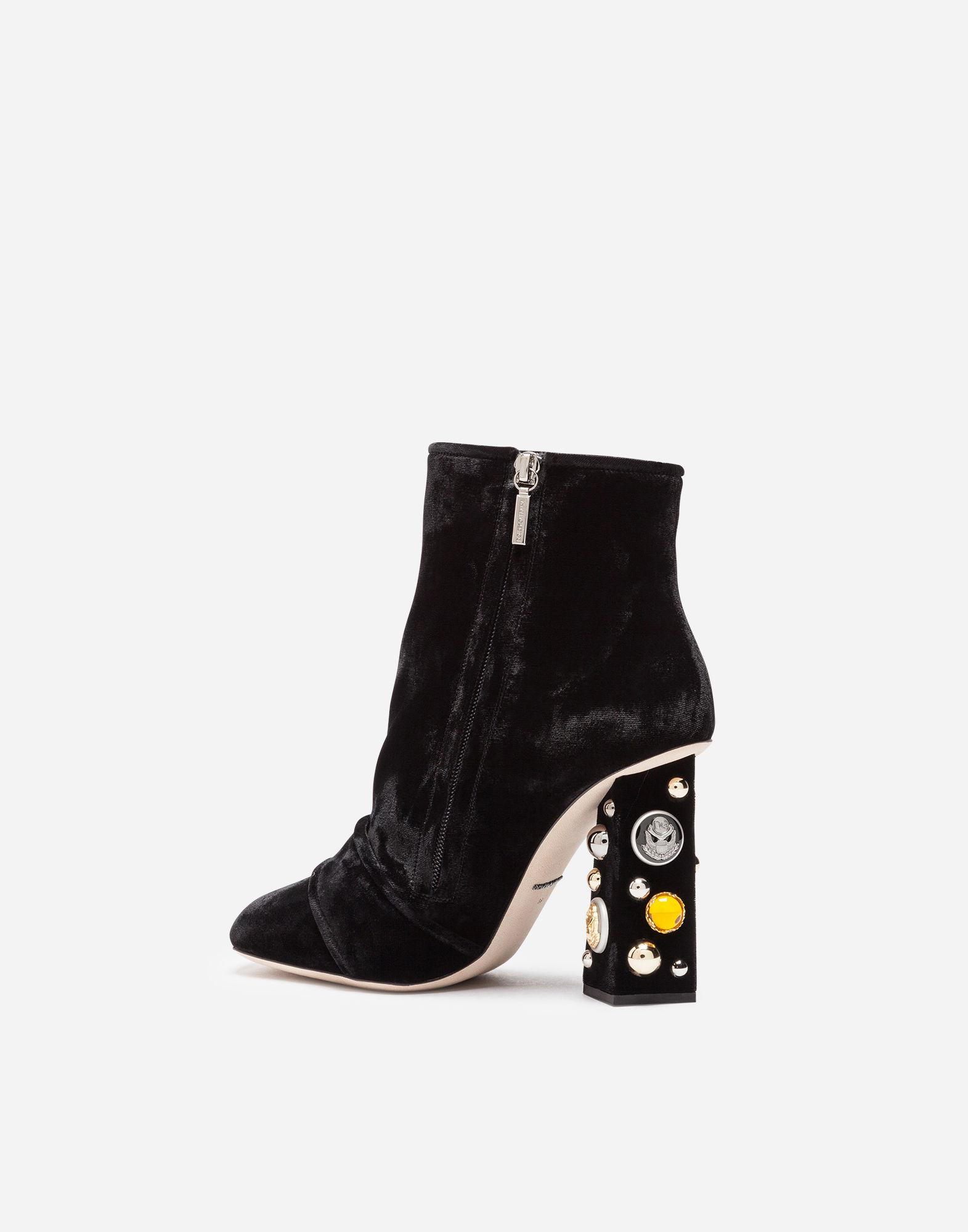 9a8e6aa48bd875 Lyst - Dolce   Gabbana Velvet Ankle Boots With Bejeweled Heels in Black