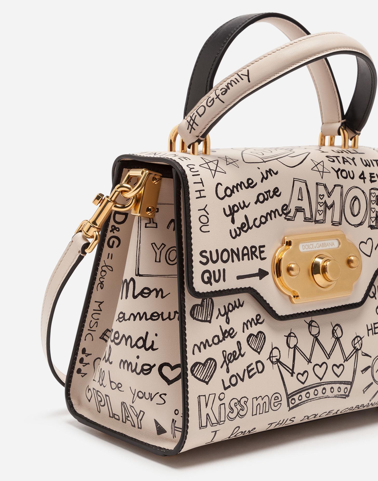 Lyst - Dolce   Gabbana Mural-print Calfskin Welcome Handbag in Natural 1dae545586121