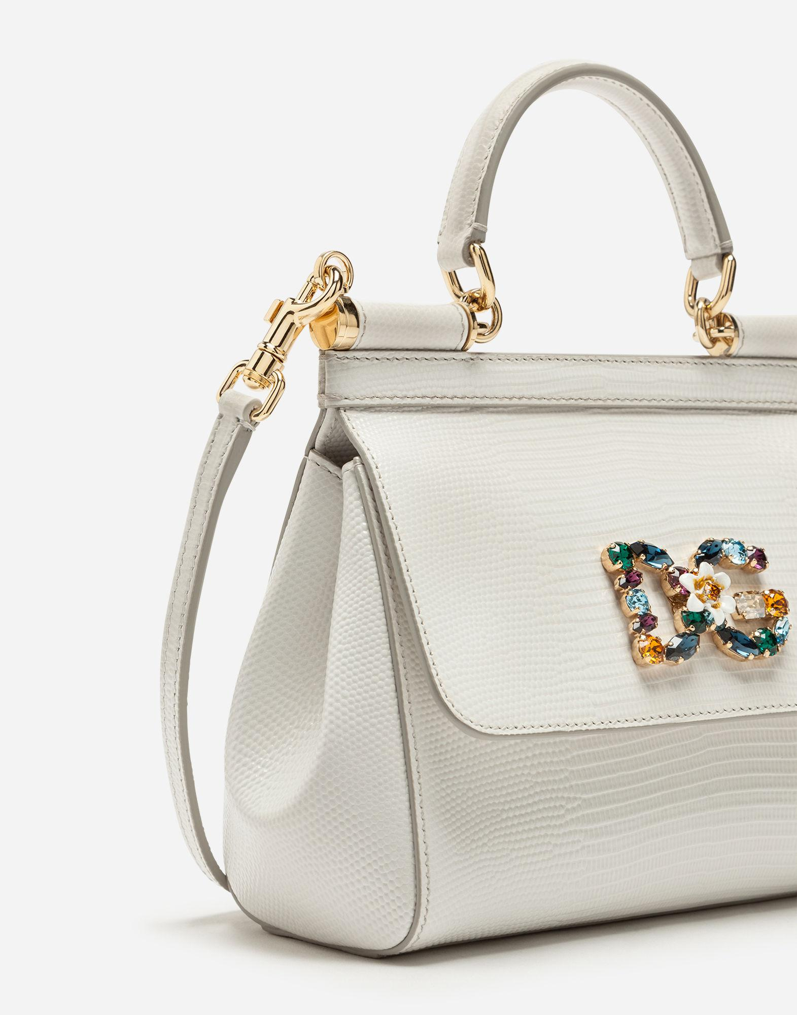 62592677602bf4 Dolce & Gabbana Small Calfskin Sicily Bag With Iguana-print And Dg Crystal  Logo Patch in White - Lyst