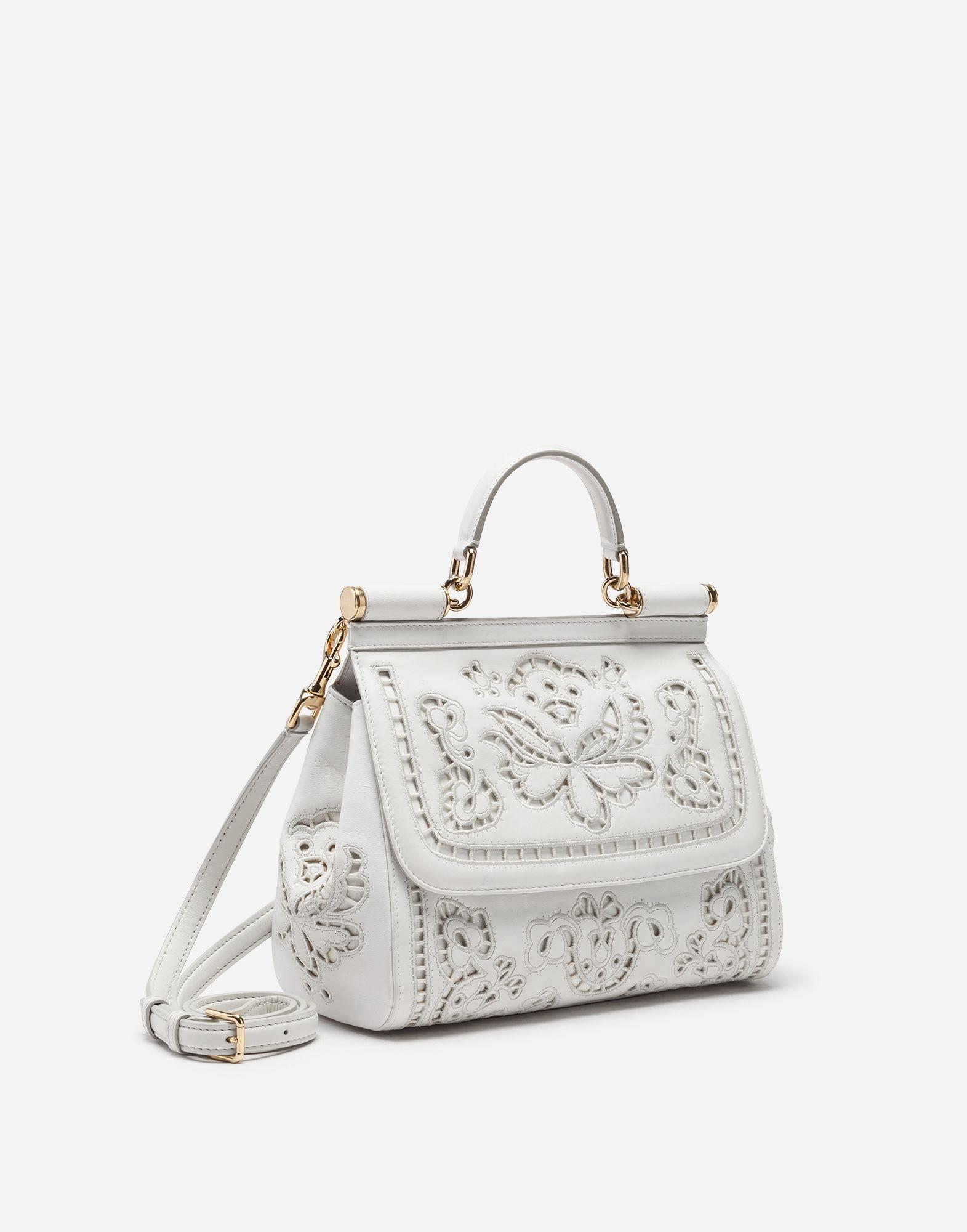 7d1d95847b46 Lyst - Dolce   Gabbana Medium Sicily Bag In Intaglio Nappa Leather in White