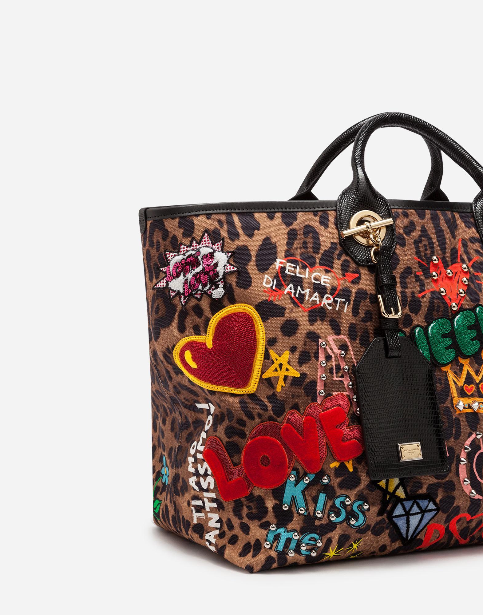 35b4820890 Lyst - Dolce   Gabbana Capri Shopping Bag In Printed Fabric And ...