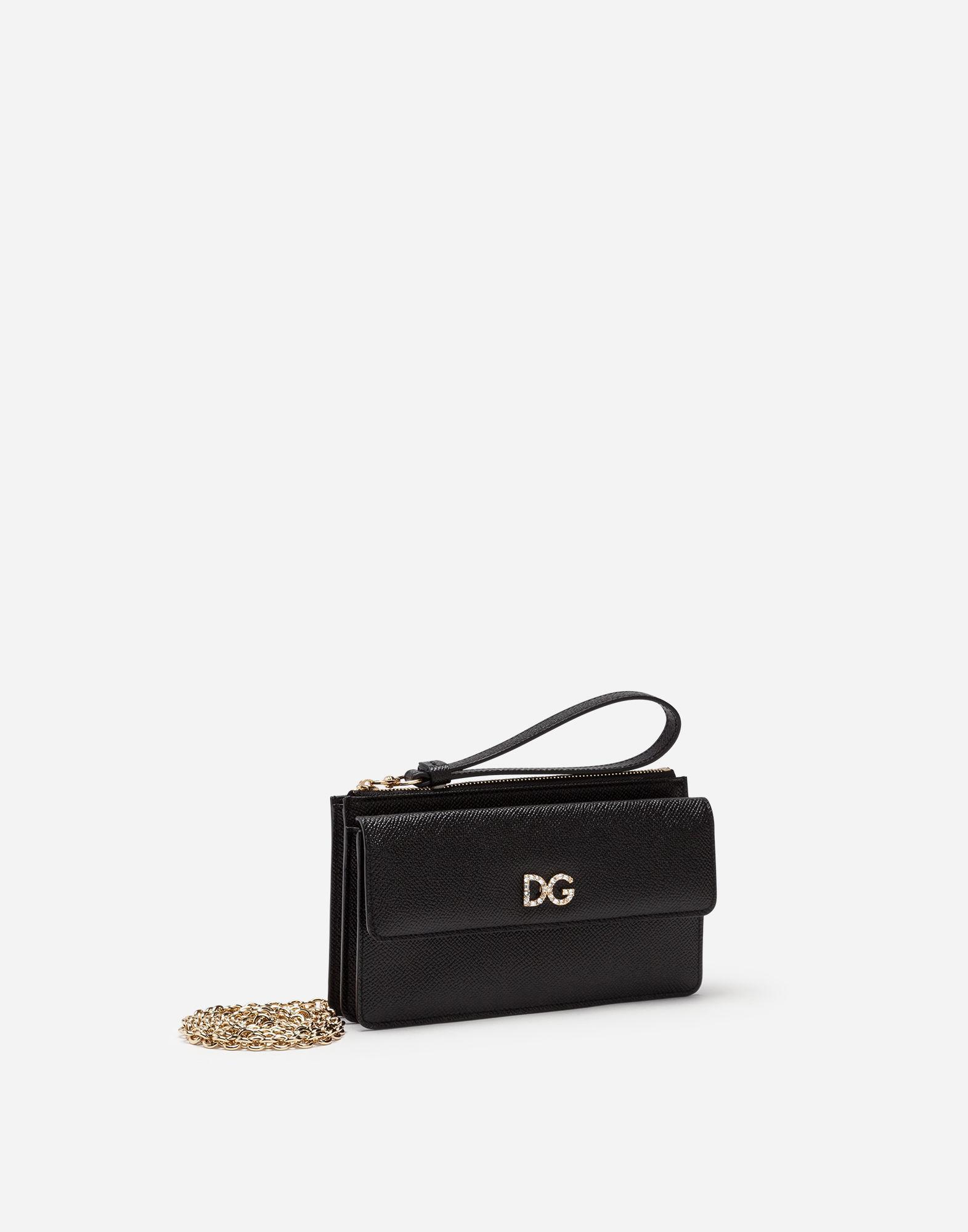 ab6ffdaca5a8 Lyst - Dolce   Gabbana Von Bag In Dauphine Calfskin With Dg Logo Crystalsâ  in Black