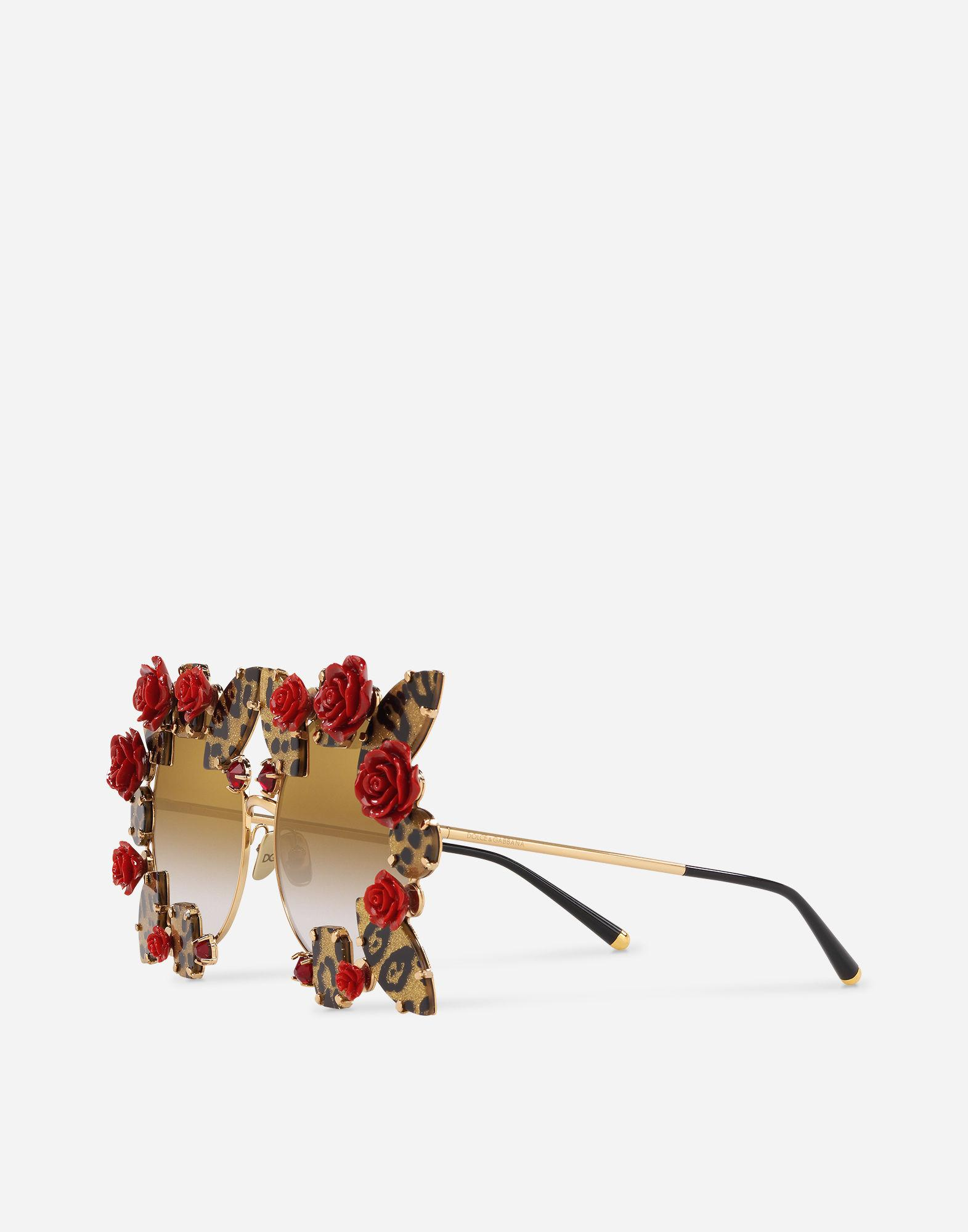 e01ef3ed307 Lyst - Dolce   Gabbana Round Metal Sunglasses With Precious Details in  Metallic