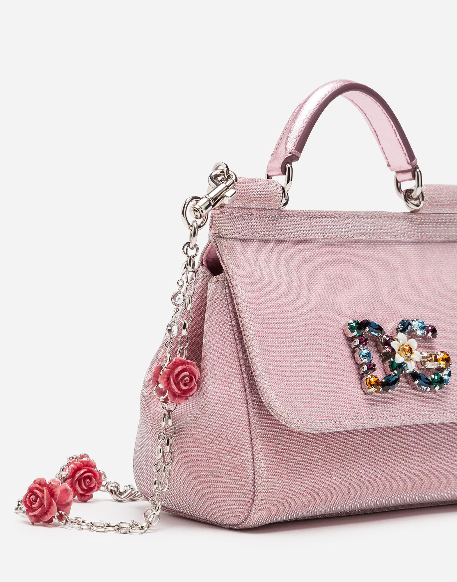 0d222ae70eb3 Women s Pink Mini Sicily Bag In Lurex Fabric