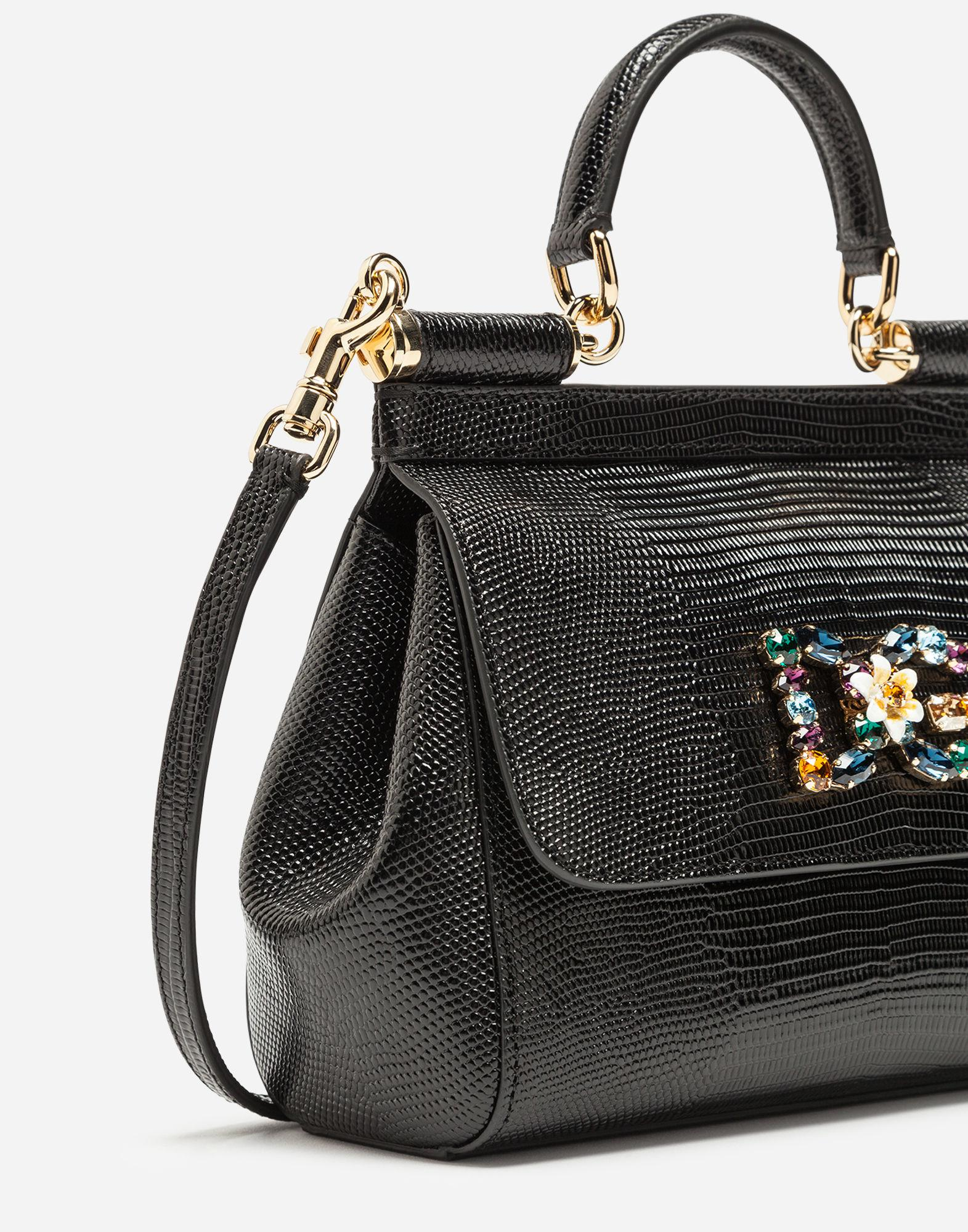 9b5808eaba10 Lyst - Dolce   Gabbana Small Calfskin Sicily Bag With Iguana-print And Dg  Crystal Logo Patch in Black