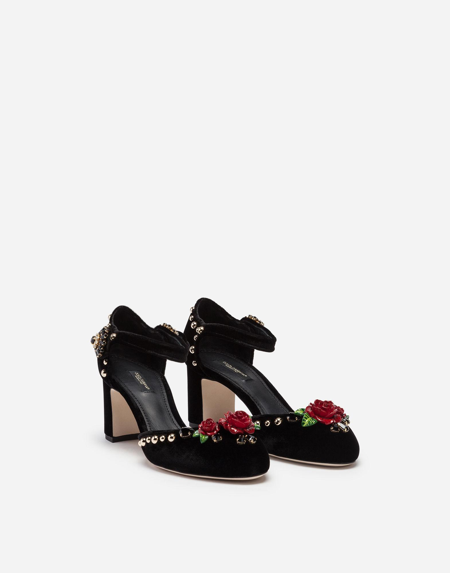 7d4ec5f0462 Lyst - Dolce   Gabbana Velvet Ankle Straps With Embroidery in Black