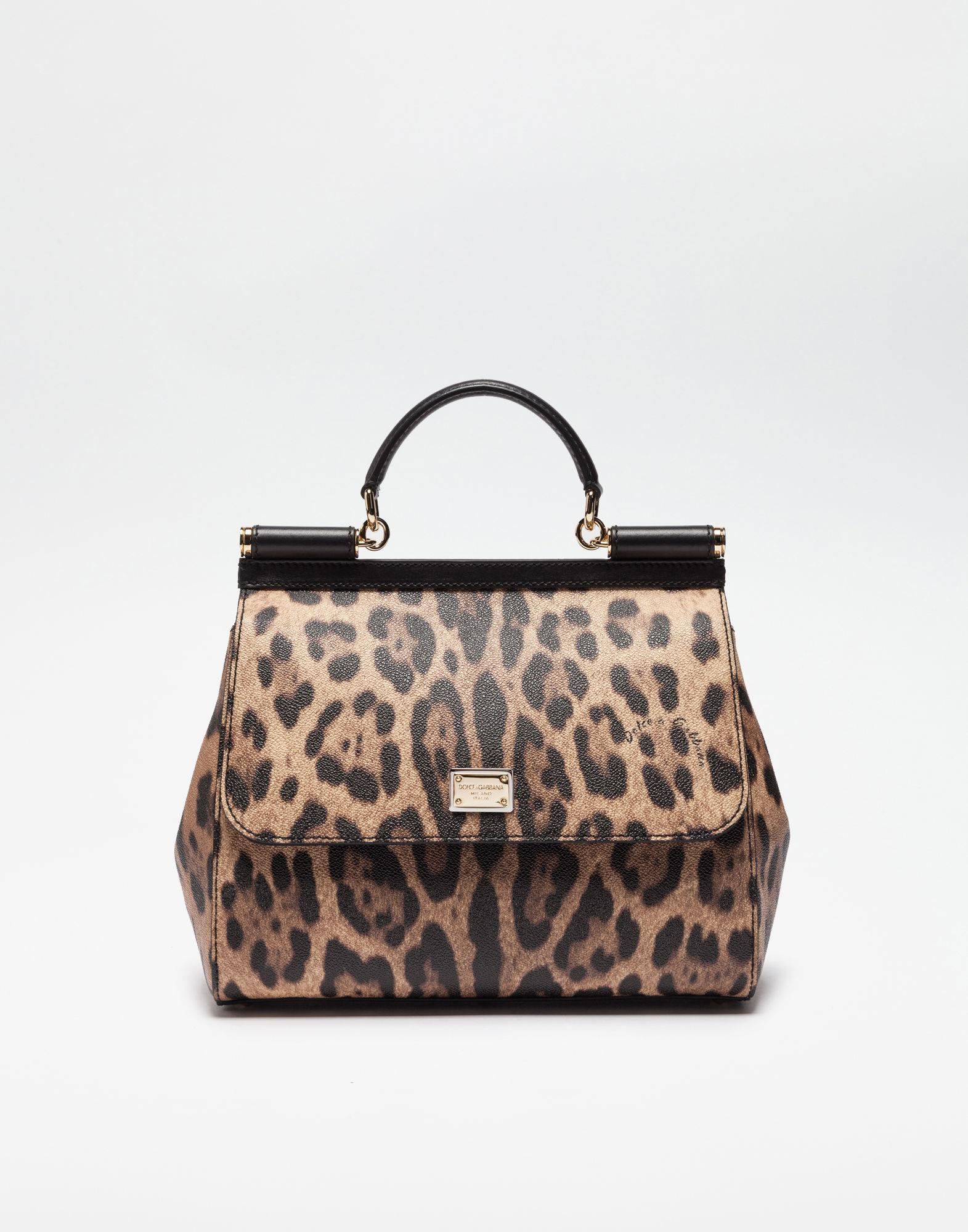 b341d7b2f156 Dolce   Gabbana. Women s Brown Regular Sicily Bag In Leopard Textured  Leather