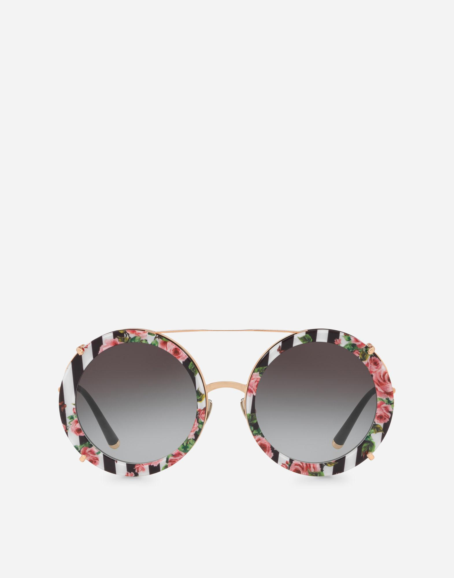 8abe4de3156 Dolce   Gabbana. Women s Metallic Round Clip-on Sunglasses In Gold Metal  With Stripe And Rose Print