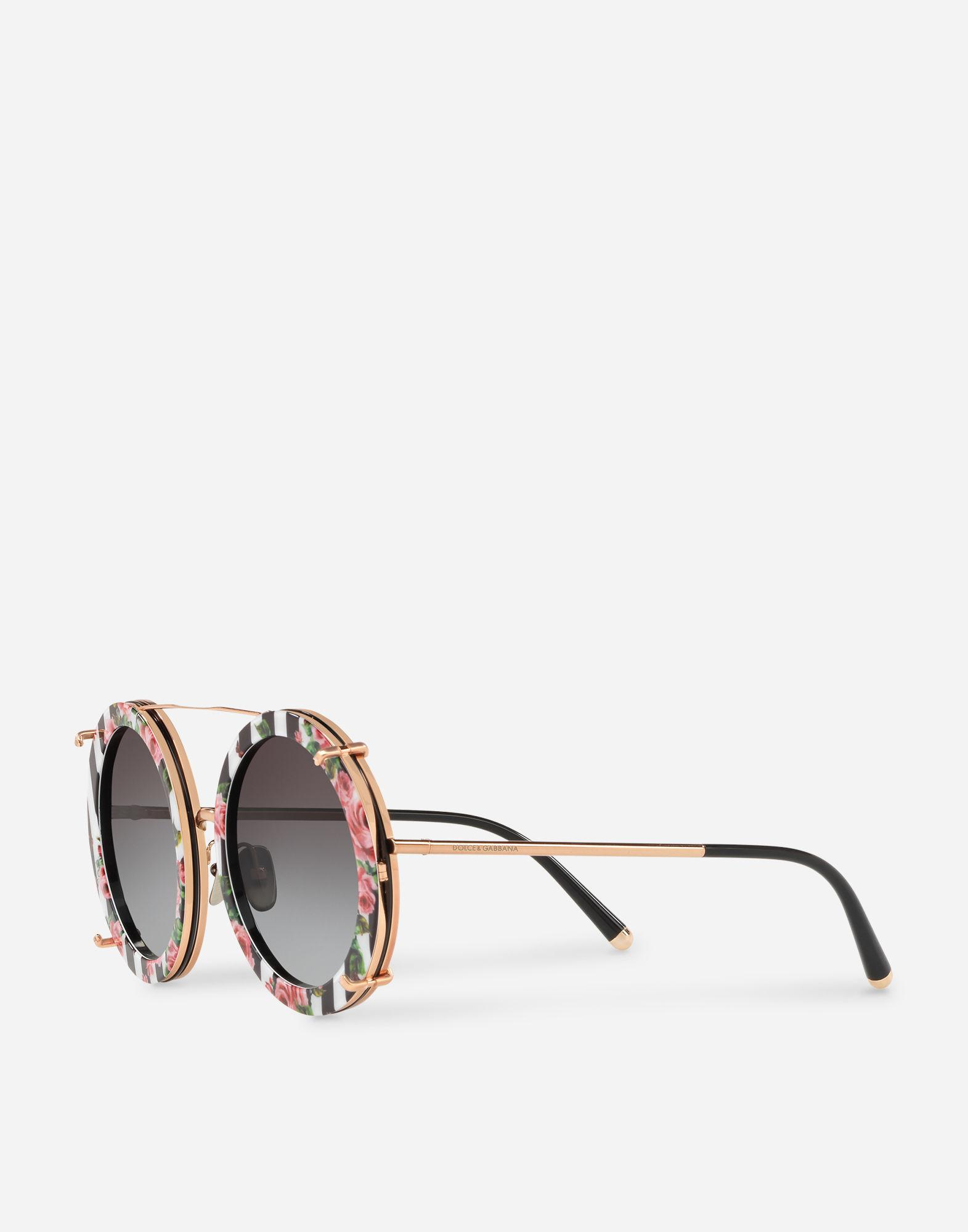 e34a2d894e5 Dolce   Gabbana - Metallic Round Clip-on Sunglasses In Gold Metal With  Stripe And. View fullscreen