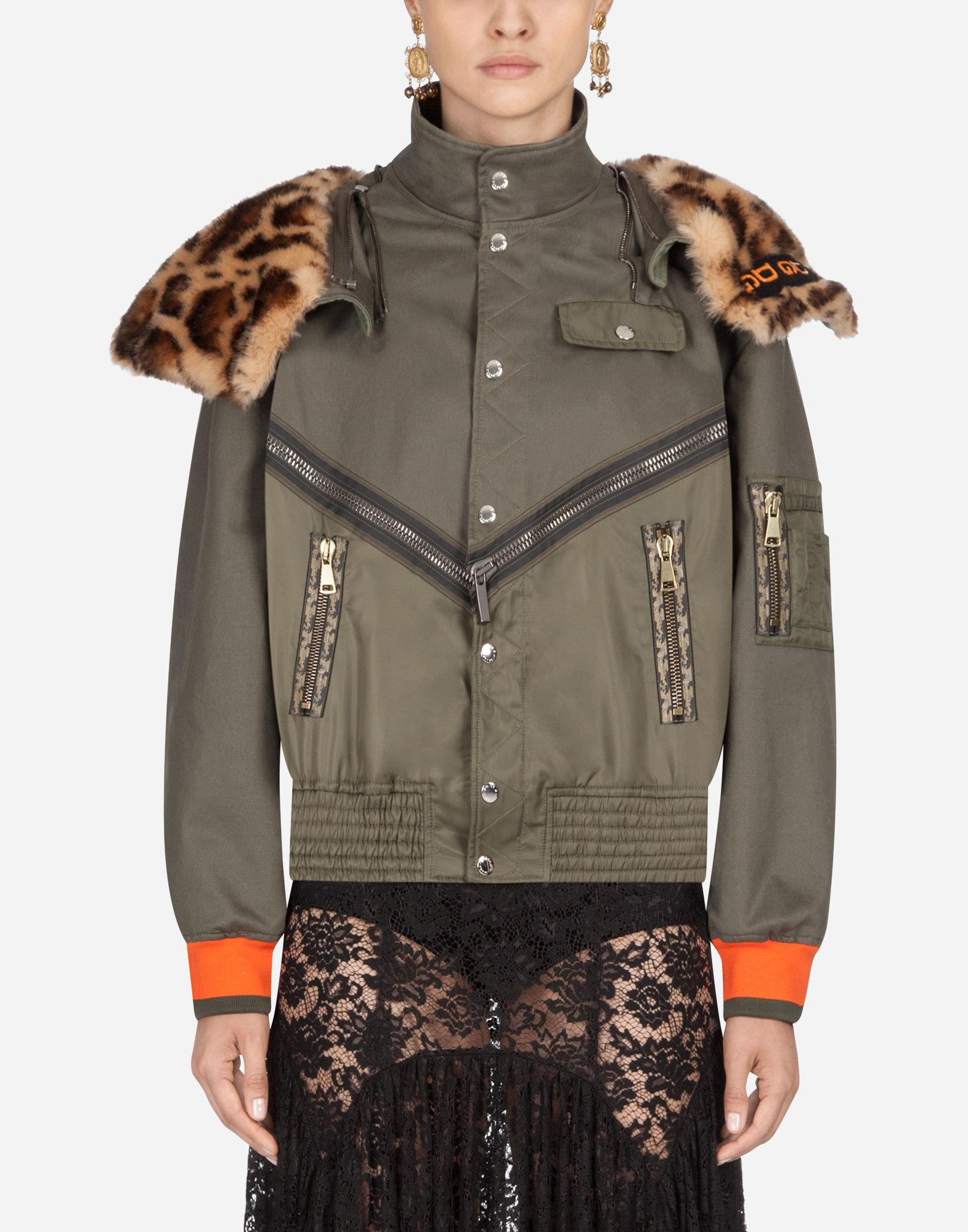 acb324da33a7 Dolce & Gabbana Leopard Print Panelled Bomber Jacket in Green - Save ...
