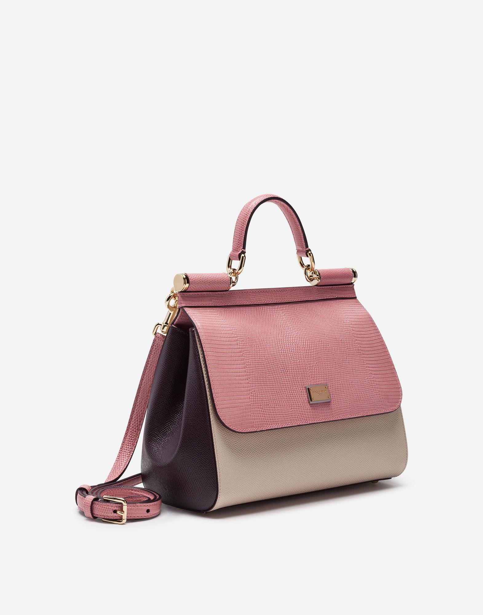 775af252faf Lyst - Dolce   Gabbana Medium Sicily Bag In Mix Of Materials in Pink