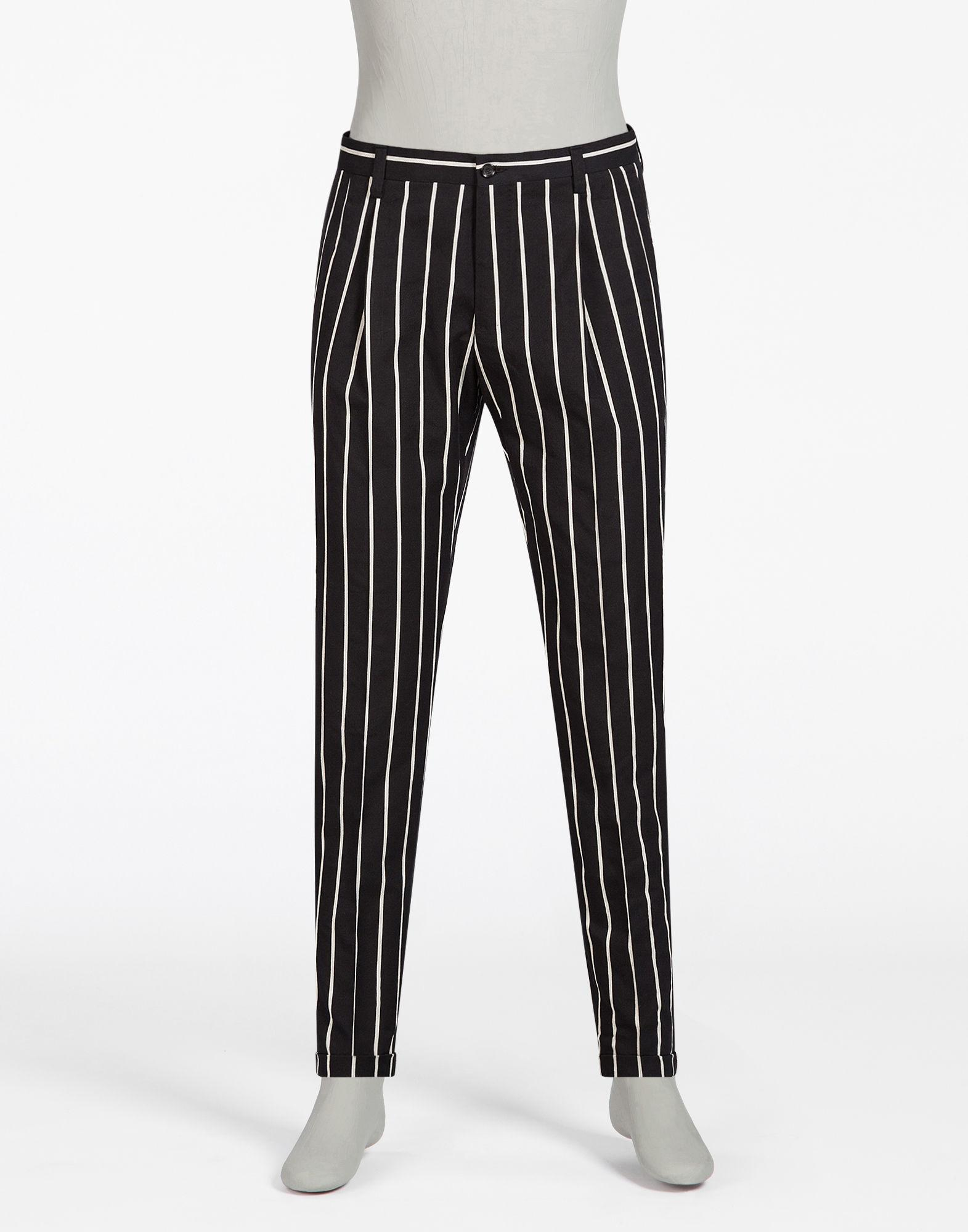 Lyst Dolce Amp Gabbana Striped Jacquard Pants In Gray For Men