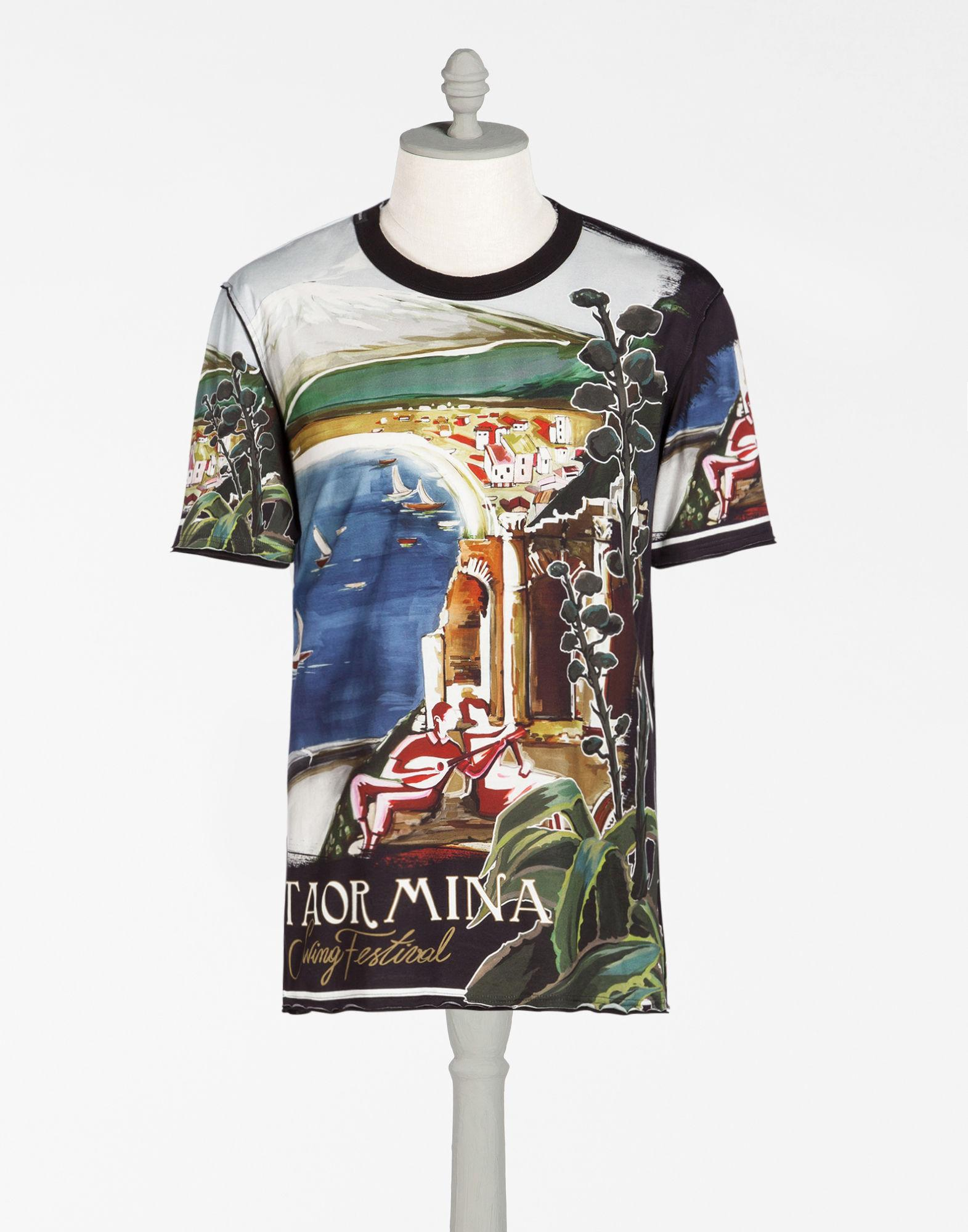 Dolce gabbana printed cotton t shirt for men lyst for Dolce and gabbana printed t shirts