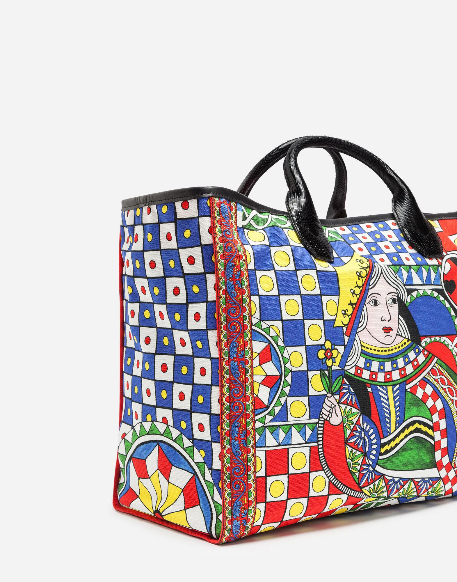 d102e0fd65 Lyst - Dolce   Gabbana Shopping Bag In Printed Fabric And Iguana ...