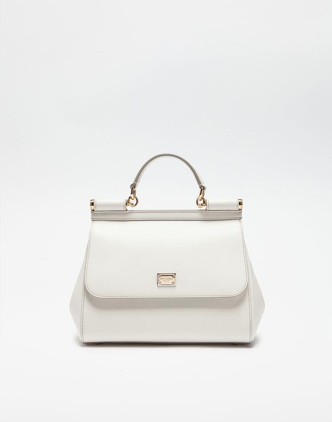 Dolce   Gabbana. Women s White Medium Sicily Handbag In Dauphine Leather 642491b869
