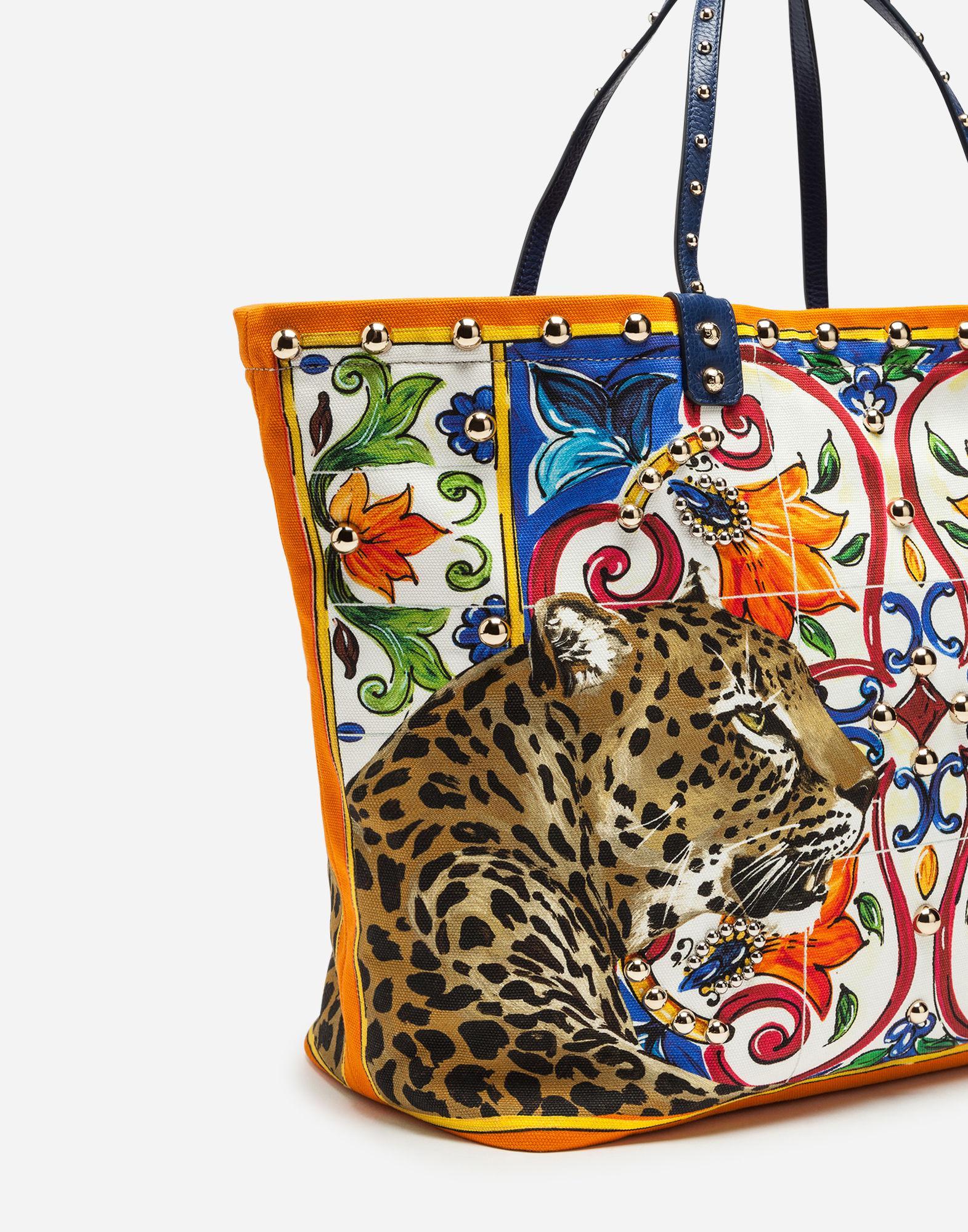 Lyst - Dolce   Gabbana Beatrice Leopard maiolica Printed Canvas Tote Bag c1bcbdcd3a