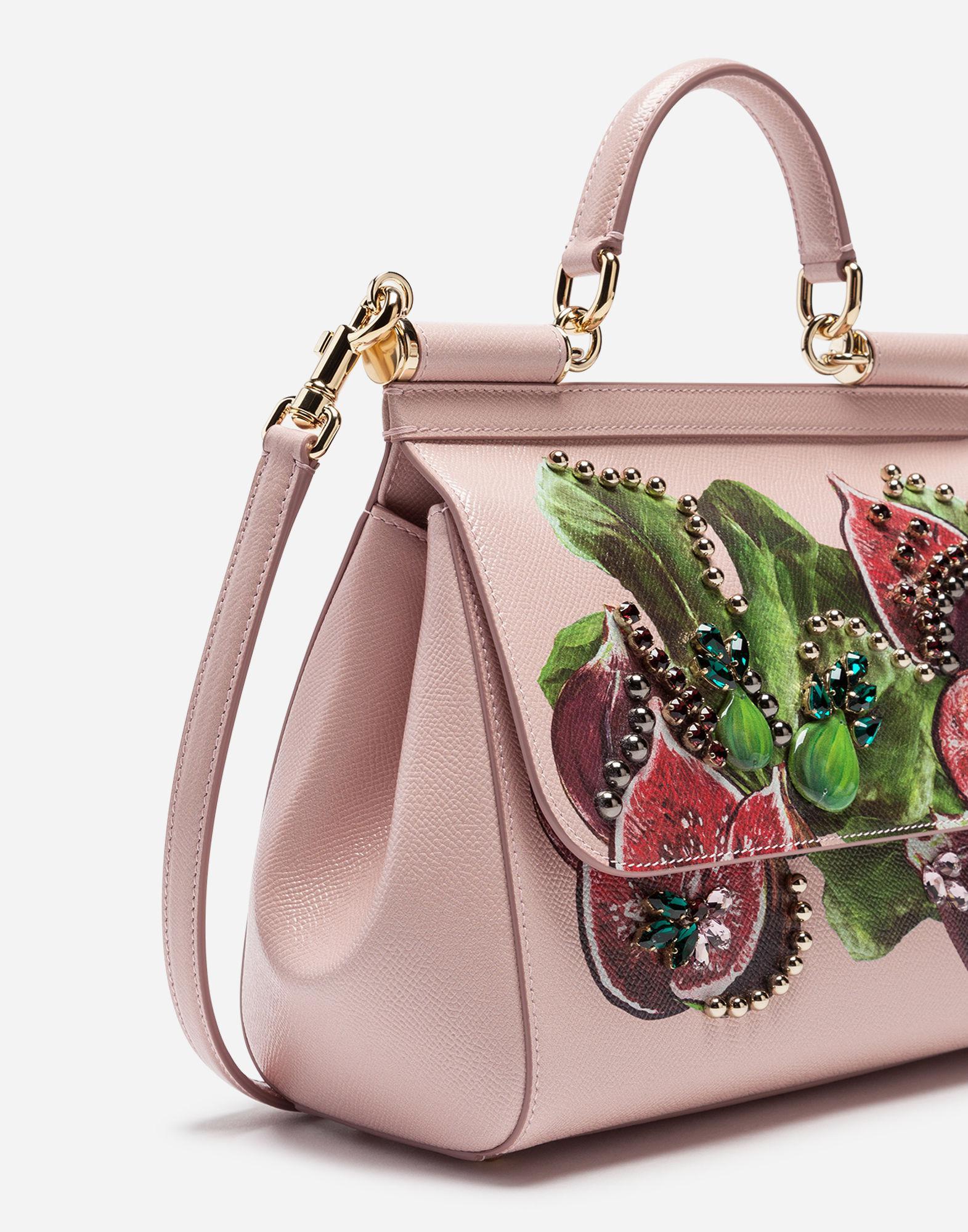 8c712c3f9fa ... Lyst - Dolce Gabbana Sicily Handbag In Printed Dauphine Calfskin in Pink  size 40 5bdf5 86e9b ...