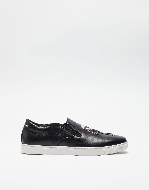 Dolce & Gabbana London Slip-on Chaussures De Sport Avec Des Plaques De Designers - Noir A2JKTzw