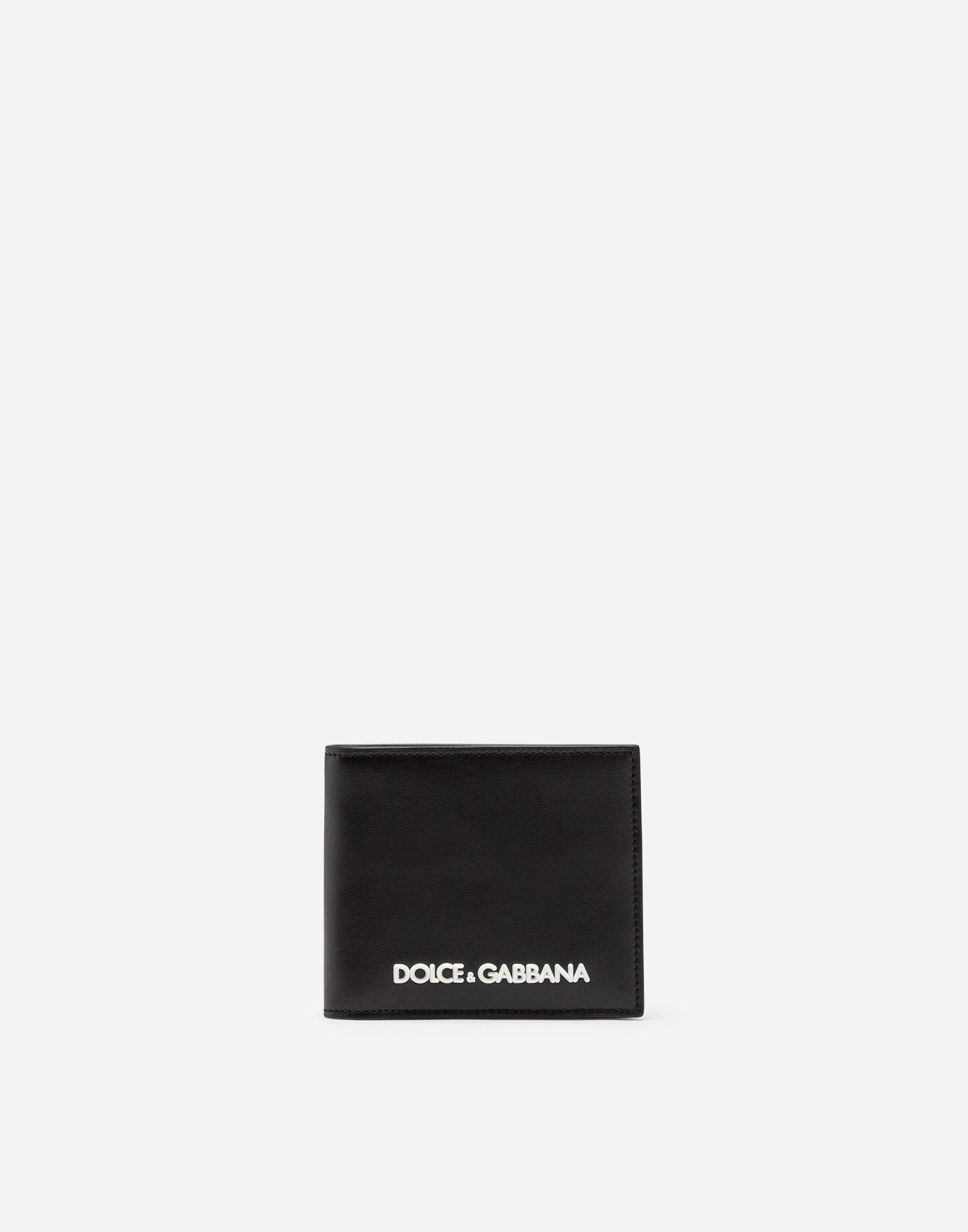 532539b457 Lyst - Dolce & Gabbana Calfskin Wallet With Rubberized Logo in Black ...
