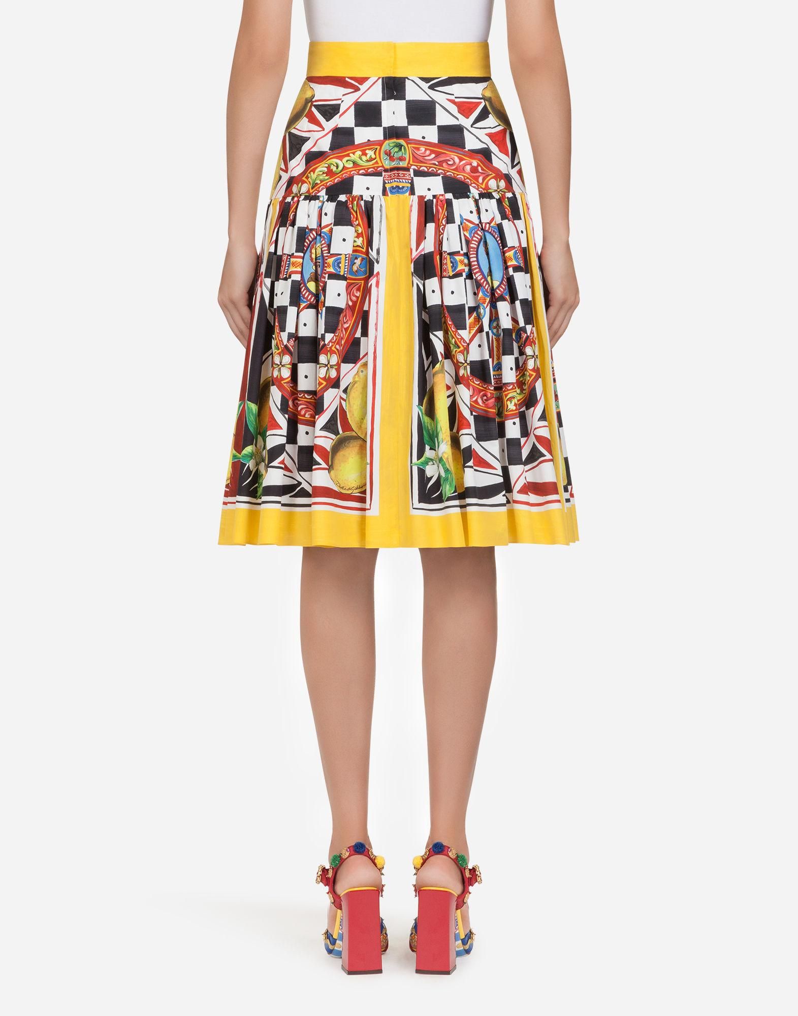 377730b8ee9b Lyst - Dolce   Gabbana Sicilian Carretto And Lemon Print Cotton Skirt