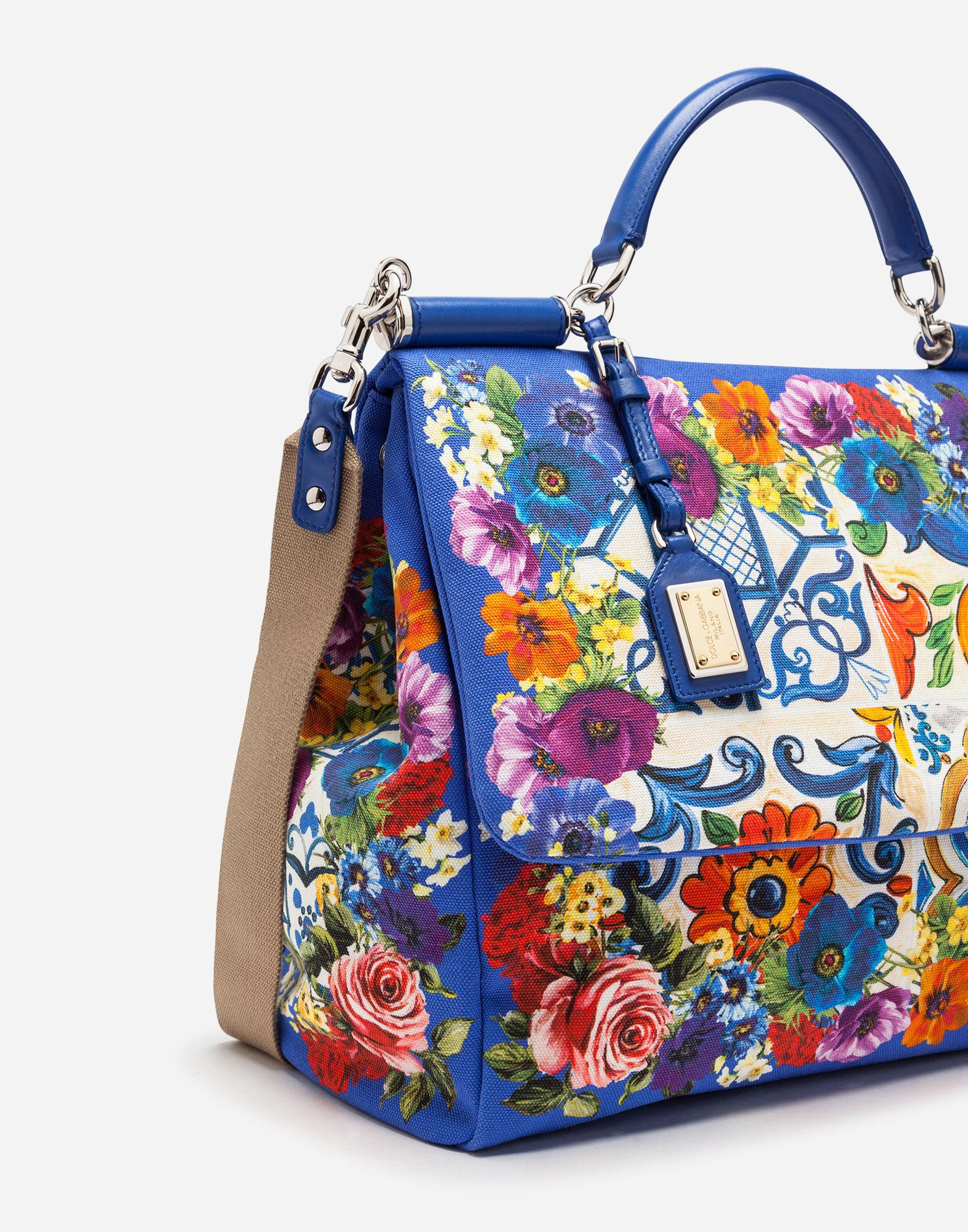 Lyst - Dolce   Gabbana Sicily Soft Bag In Majolica-print Canvas in Blue 96baeba6760e3