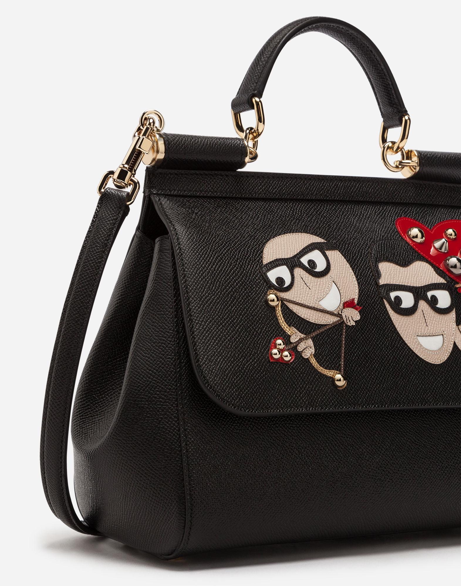 425dbca440 Lyst - Dolce   Gabbana Sicily Handbag In Dauphine Calfskin And Designers   Patches in Black