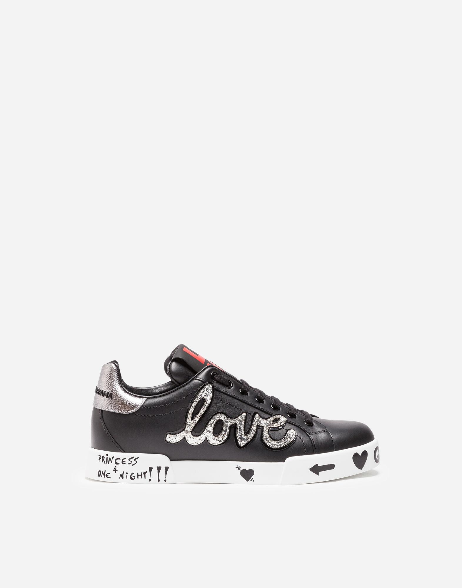 25e1282455a3 Lyst - Dolce   Gabbana Appliquéd Printed Leather Sneakers in Black ...
