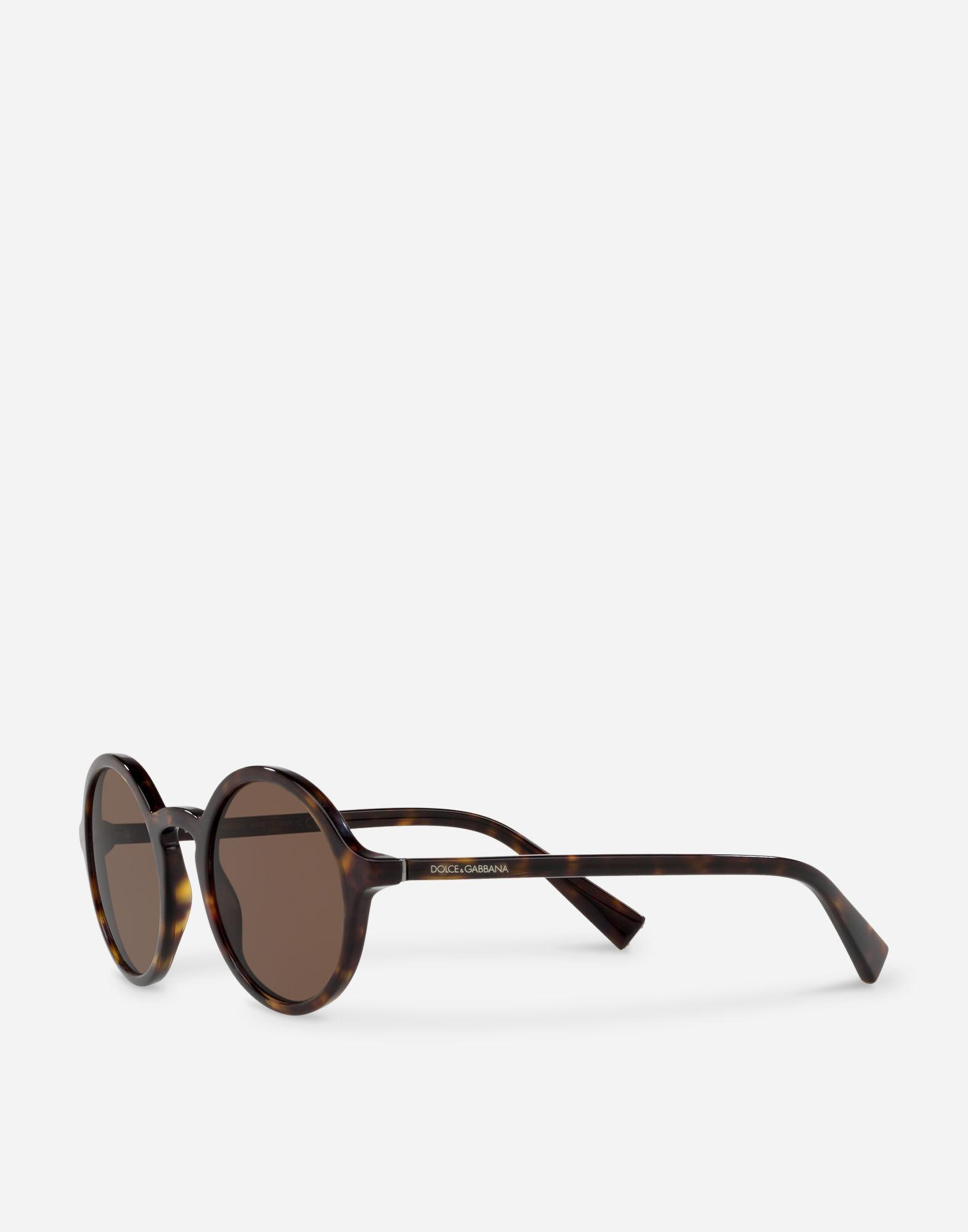 c4817da434e Lyst - Dolce   Gabbana Round Acetate Sunglasses With Keyhole Bridge in Brown