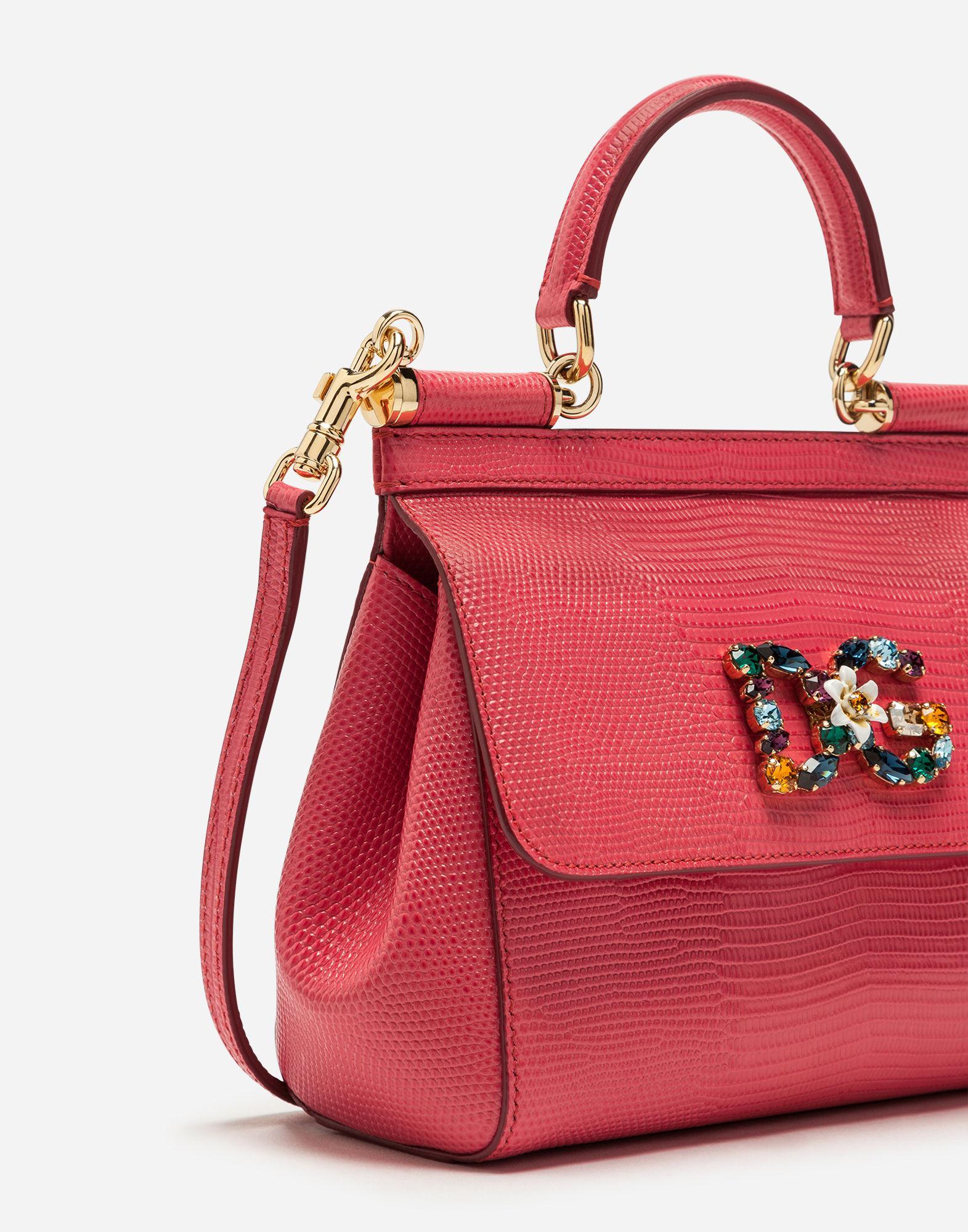 460da5c53cf1 Dolce   Gabbana - Pink Small Calfskin Sicily Bag With Iguana-print And Dg  Crystal